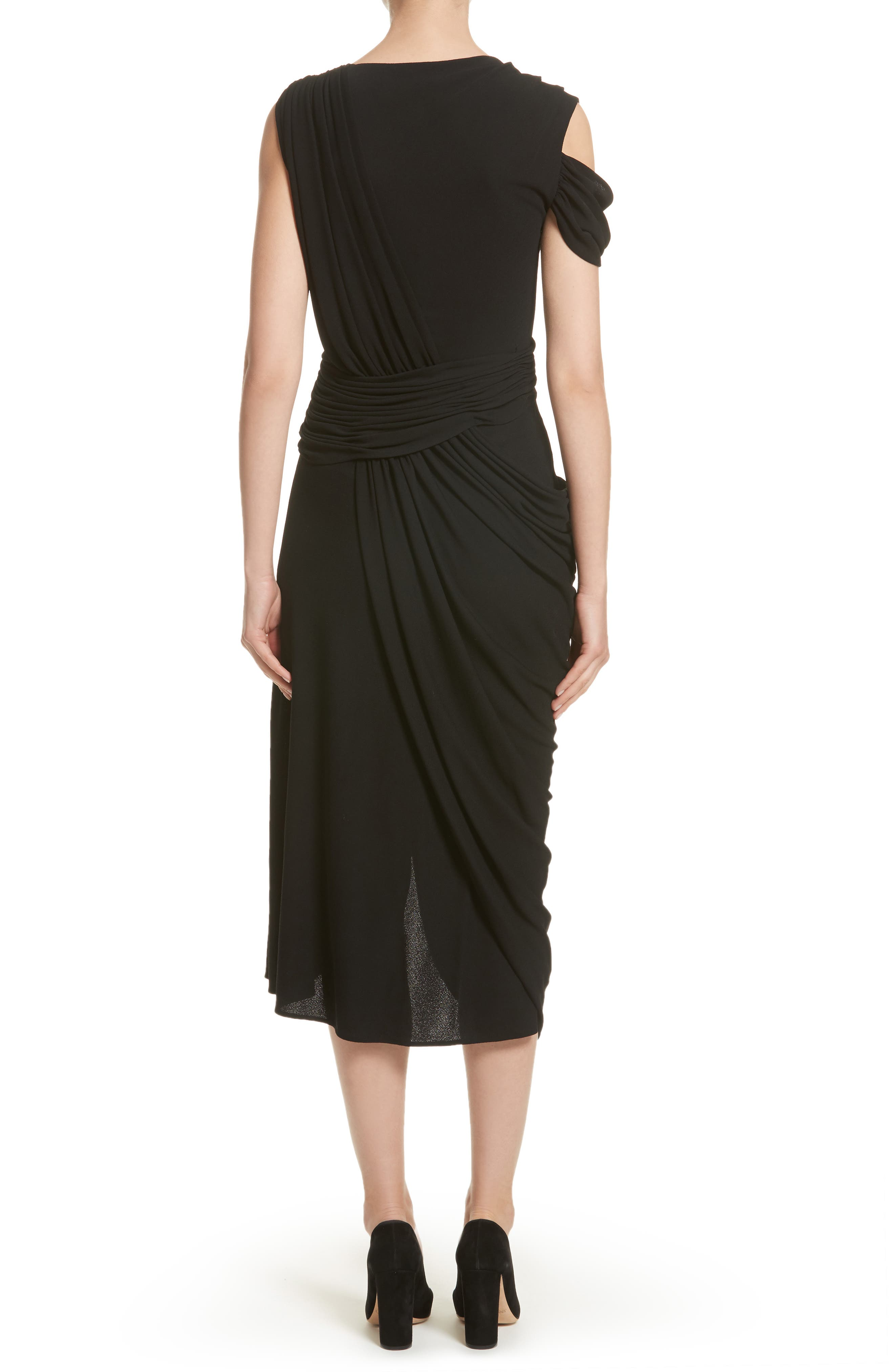 Draped Jersey Cocktail Dress,                             Alternate thumbnail 2, color,                             001