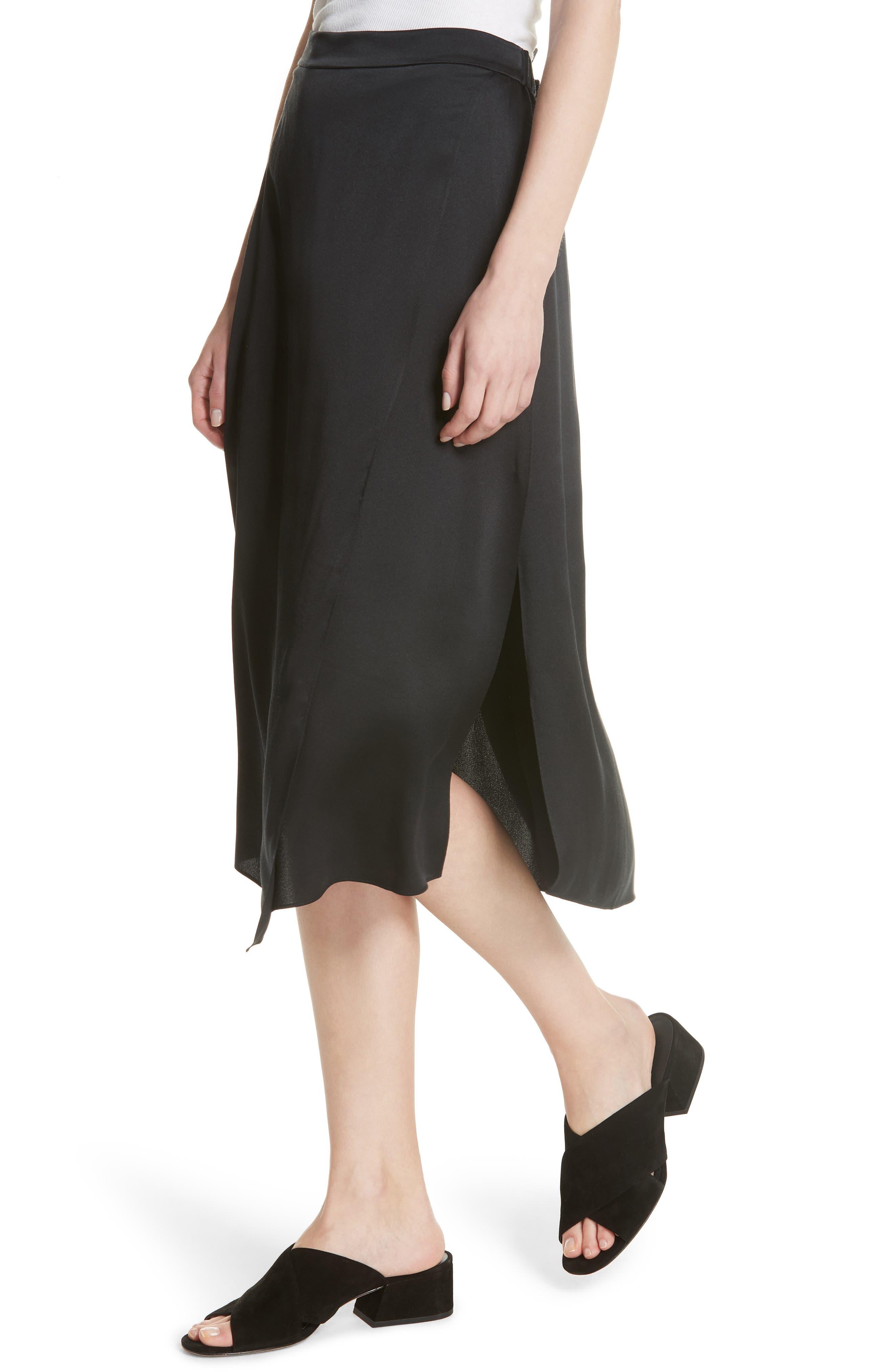 Drape Panel Silk Skirt,                             Alternate thumbnail 4, color,                             BLACK