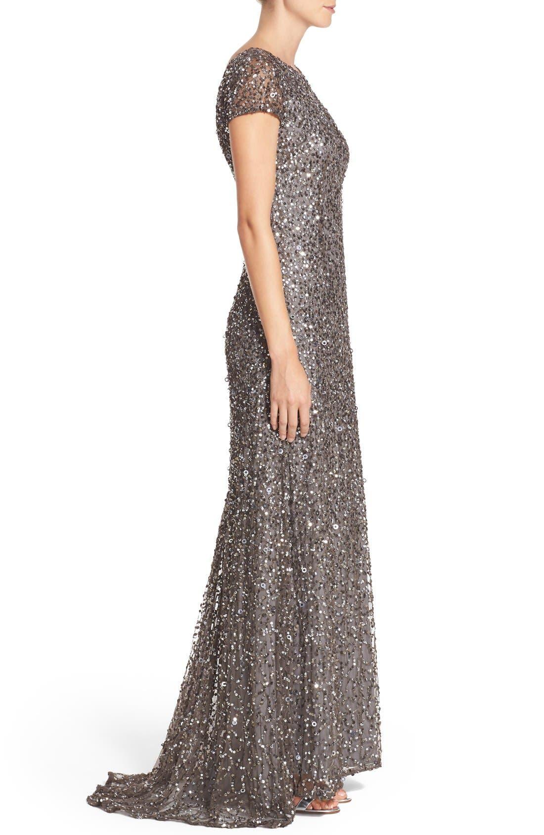Short Sleeve Sequin Mesh Gown,                             Alternate thumbnail 8, color,                             LEAD