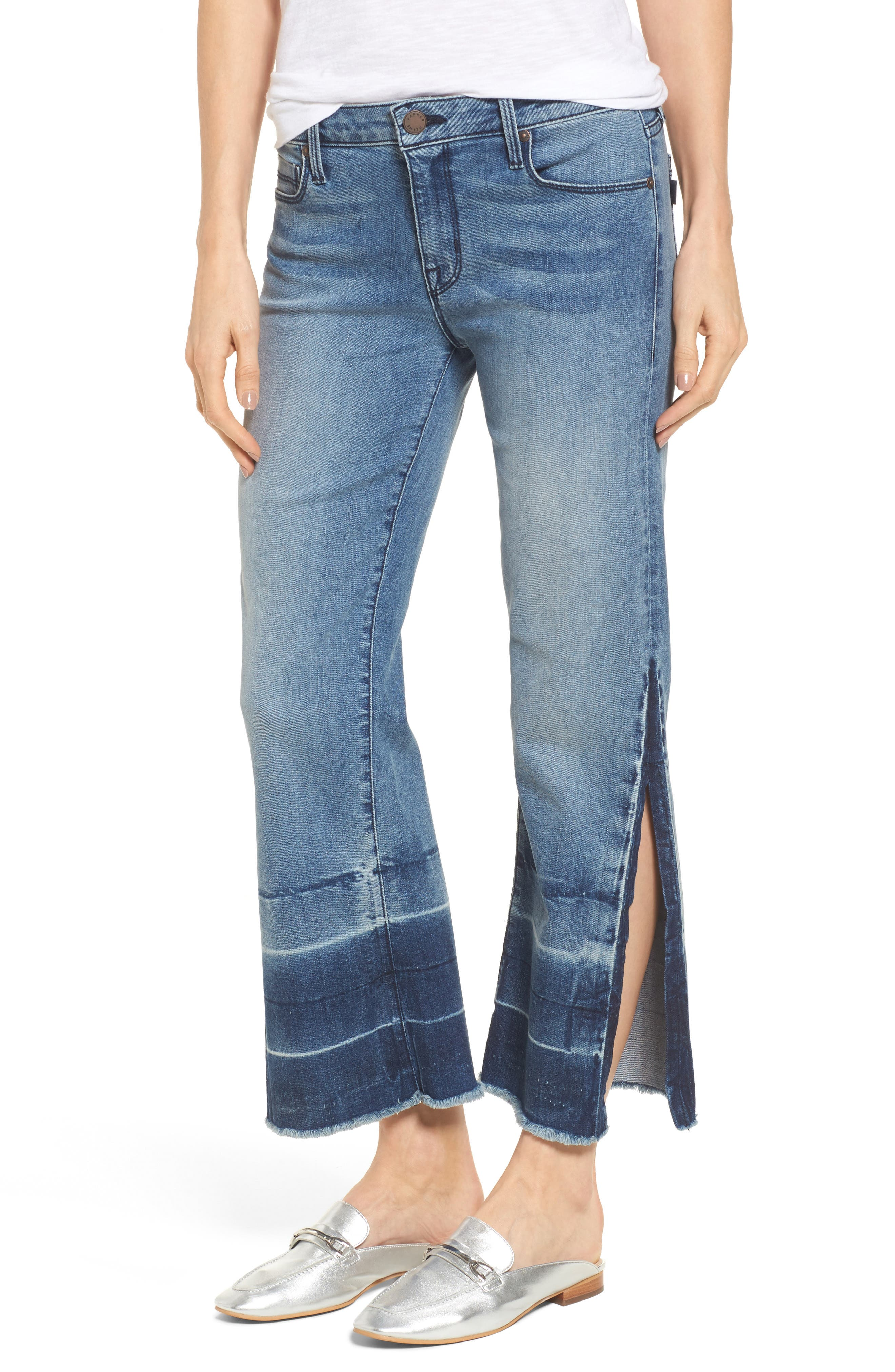 Off-Beat Crop Flare Jeans,                             Main thumbnail 1, color,