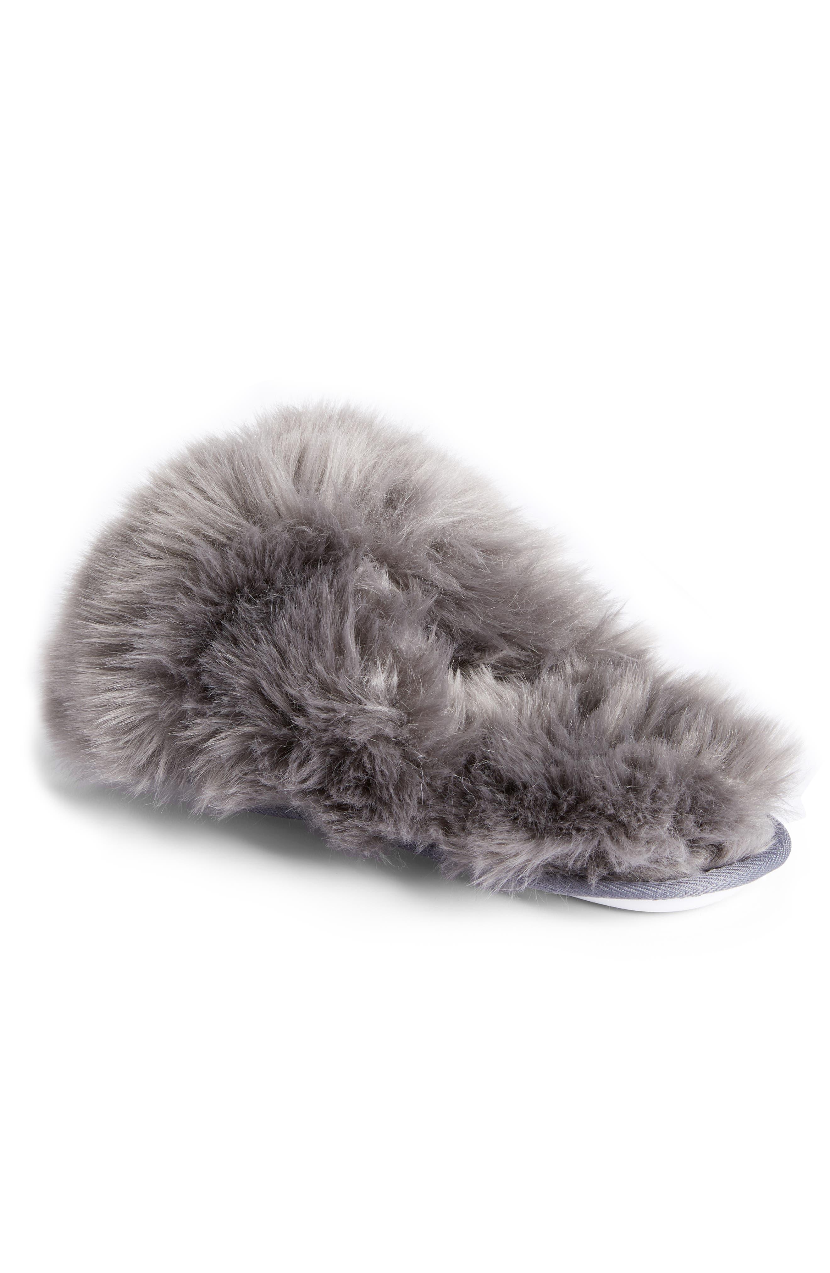 Cuddle Plush Faux Fur Scuff Slipper,                             Alternate thumbnail 2, color,                             GREY ASPHALT