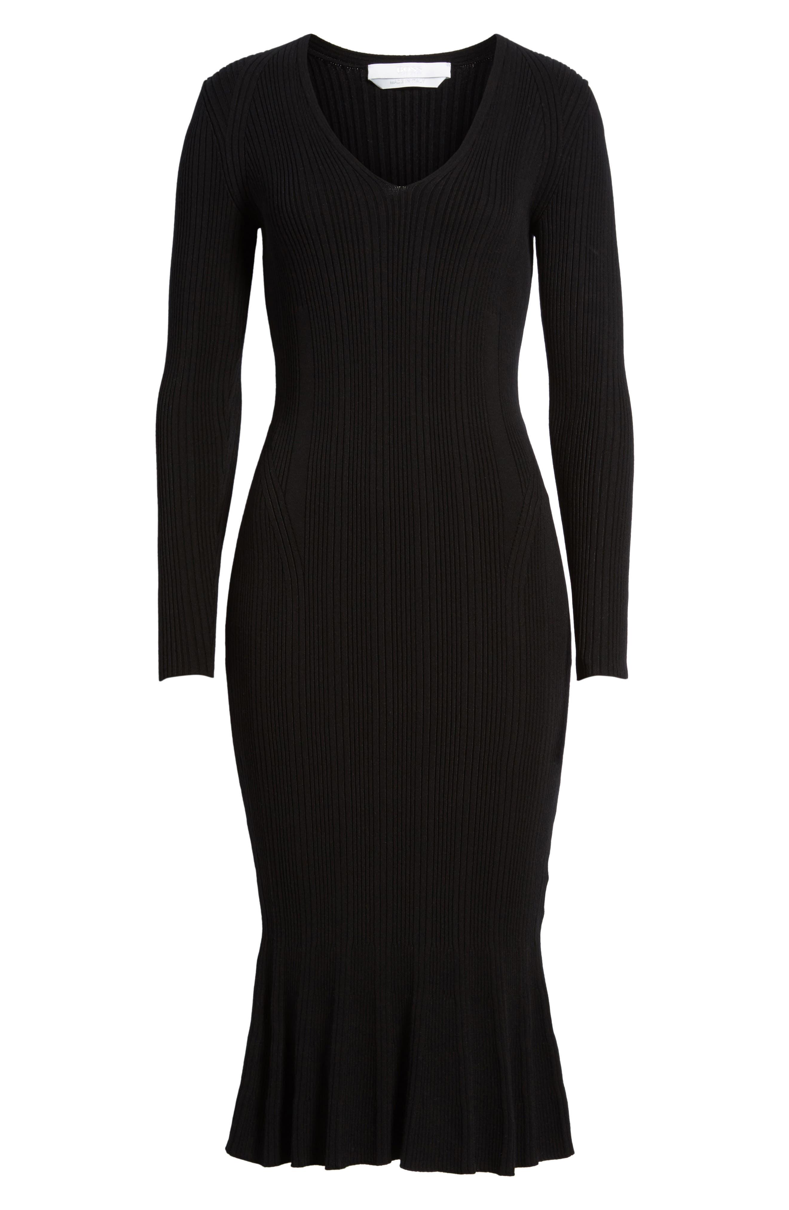 Ribbed Knit Midi Dress,                             Alternate thumbnail 6, color,                             001