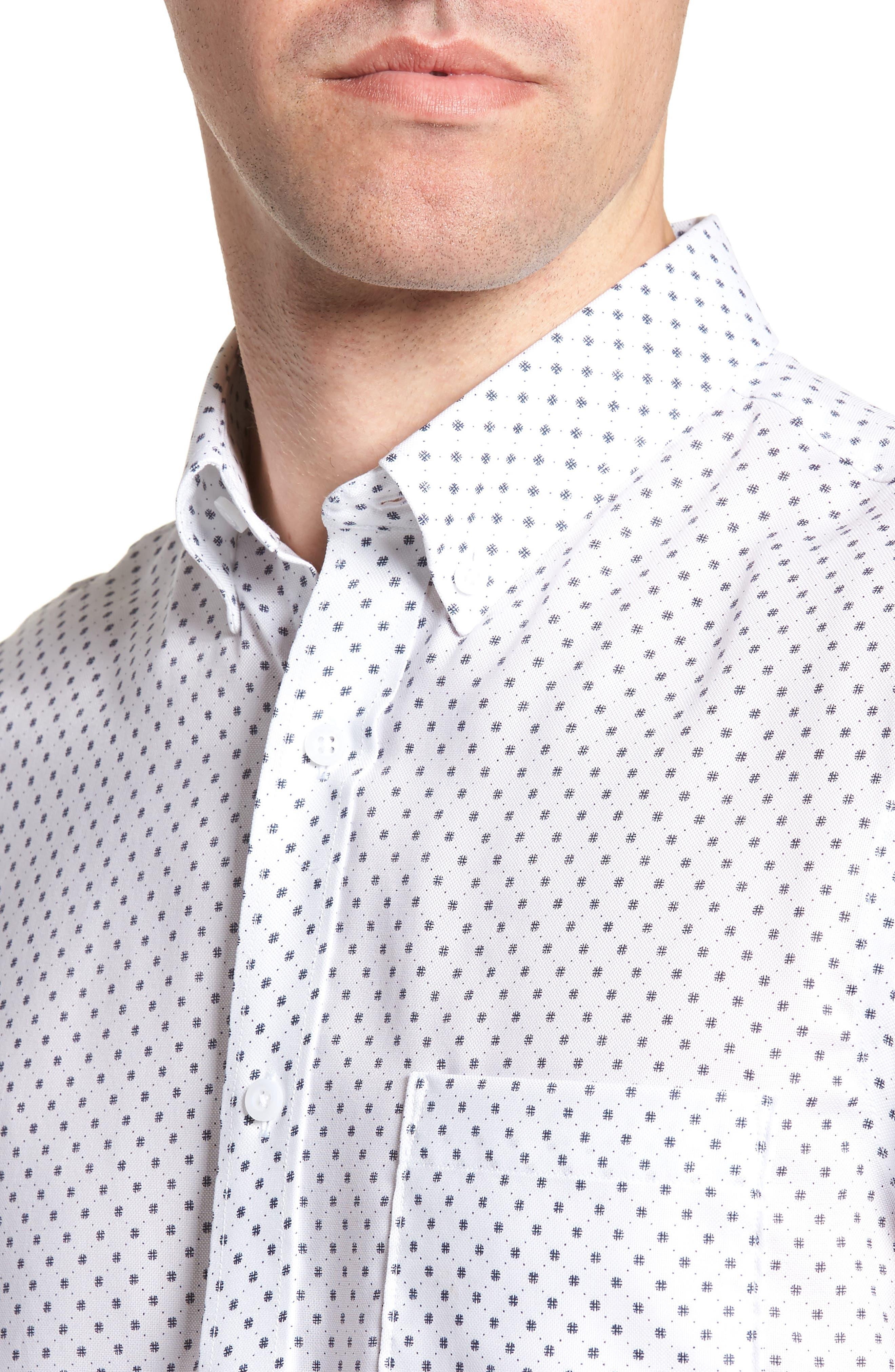 Regular Fit Dobby Print Sport Shirt,                             Alternate thumbnail 4, color,                             100