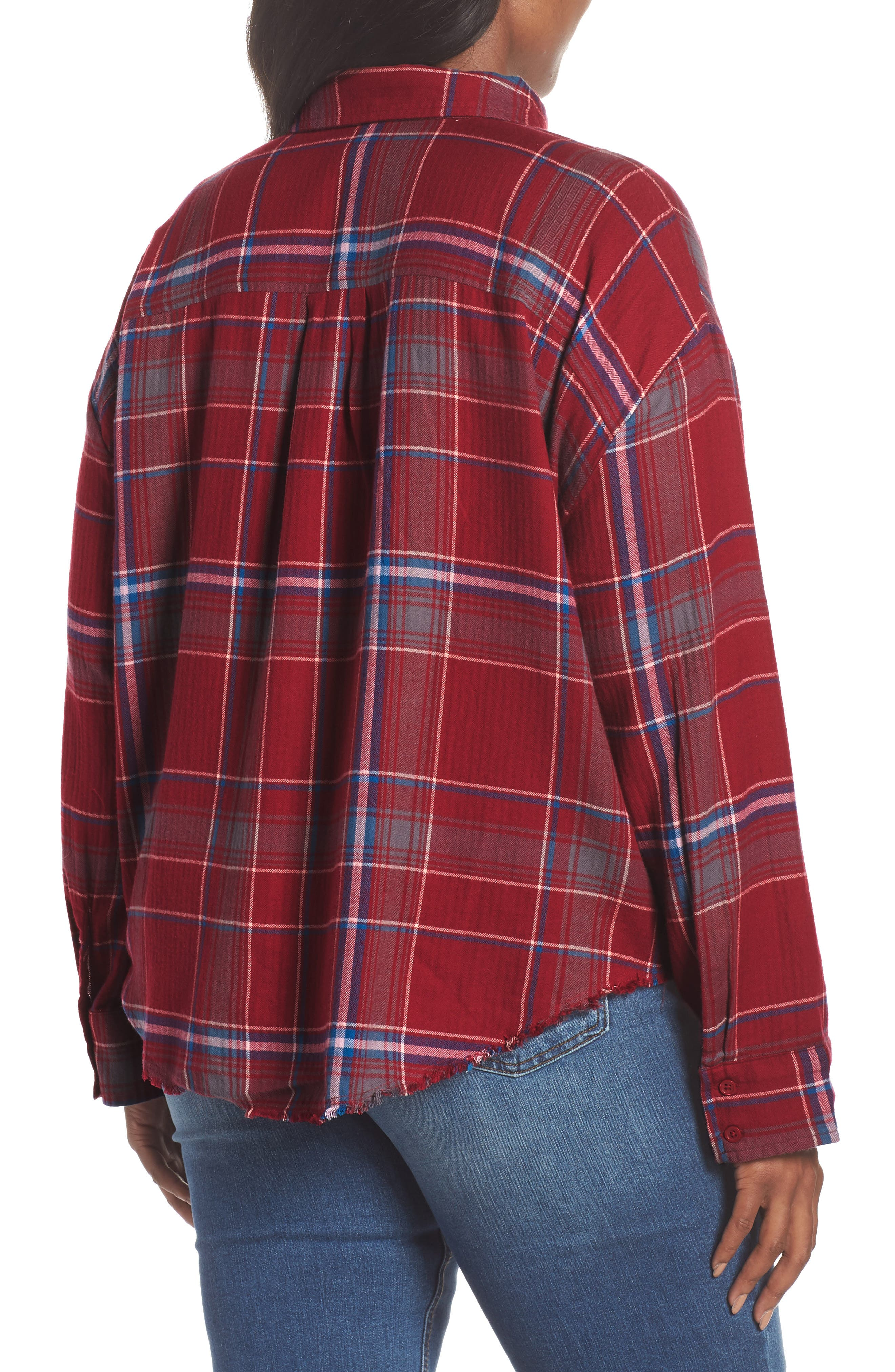 Frayed Edge Plaid Shirt,                             Alternate thumbnail 9, color,                             RED RUMBA NICOLE PLAID