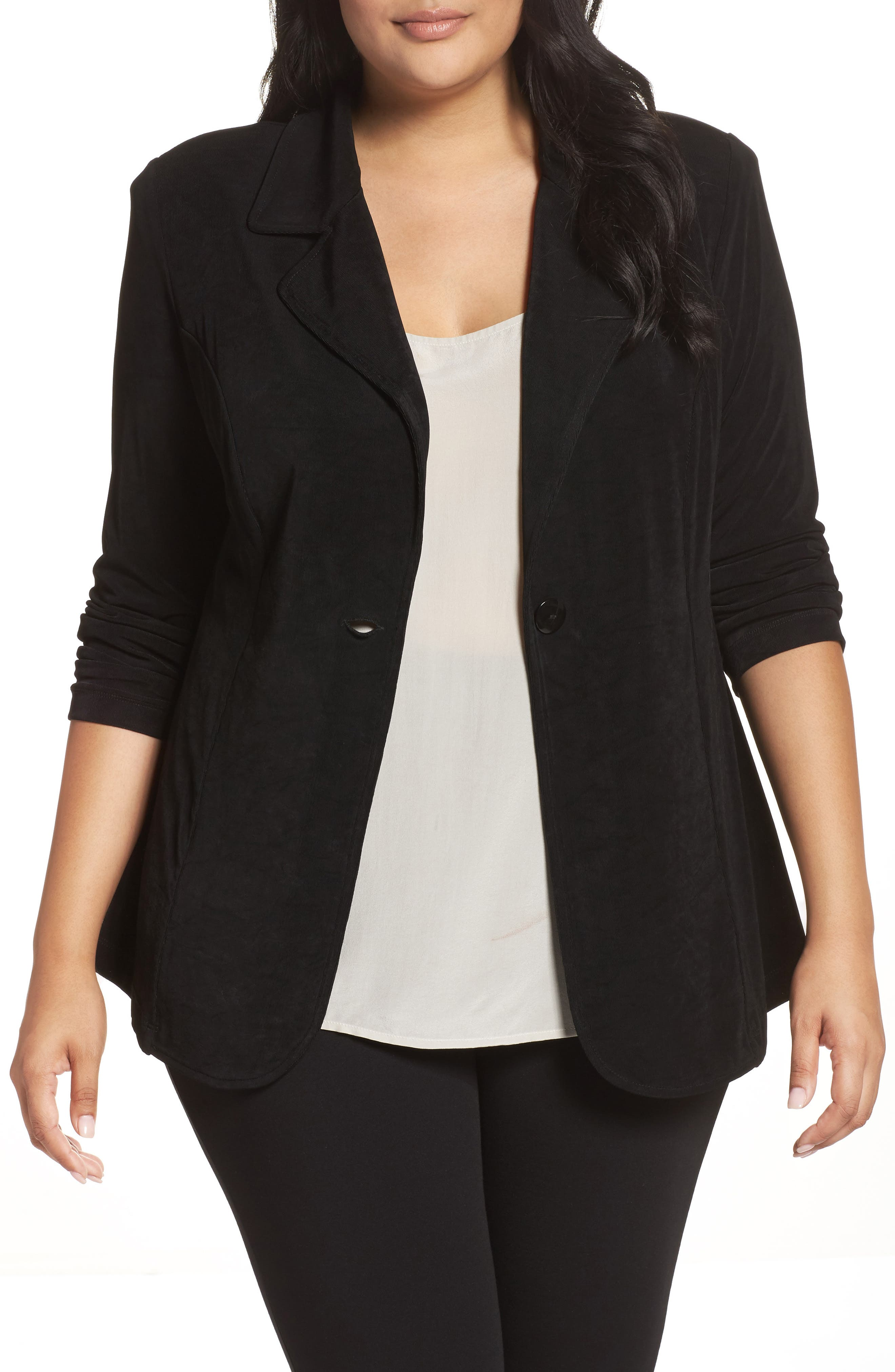One-Button Stretch Knit Blazer,                         Main,                         color, BLACK