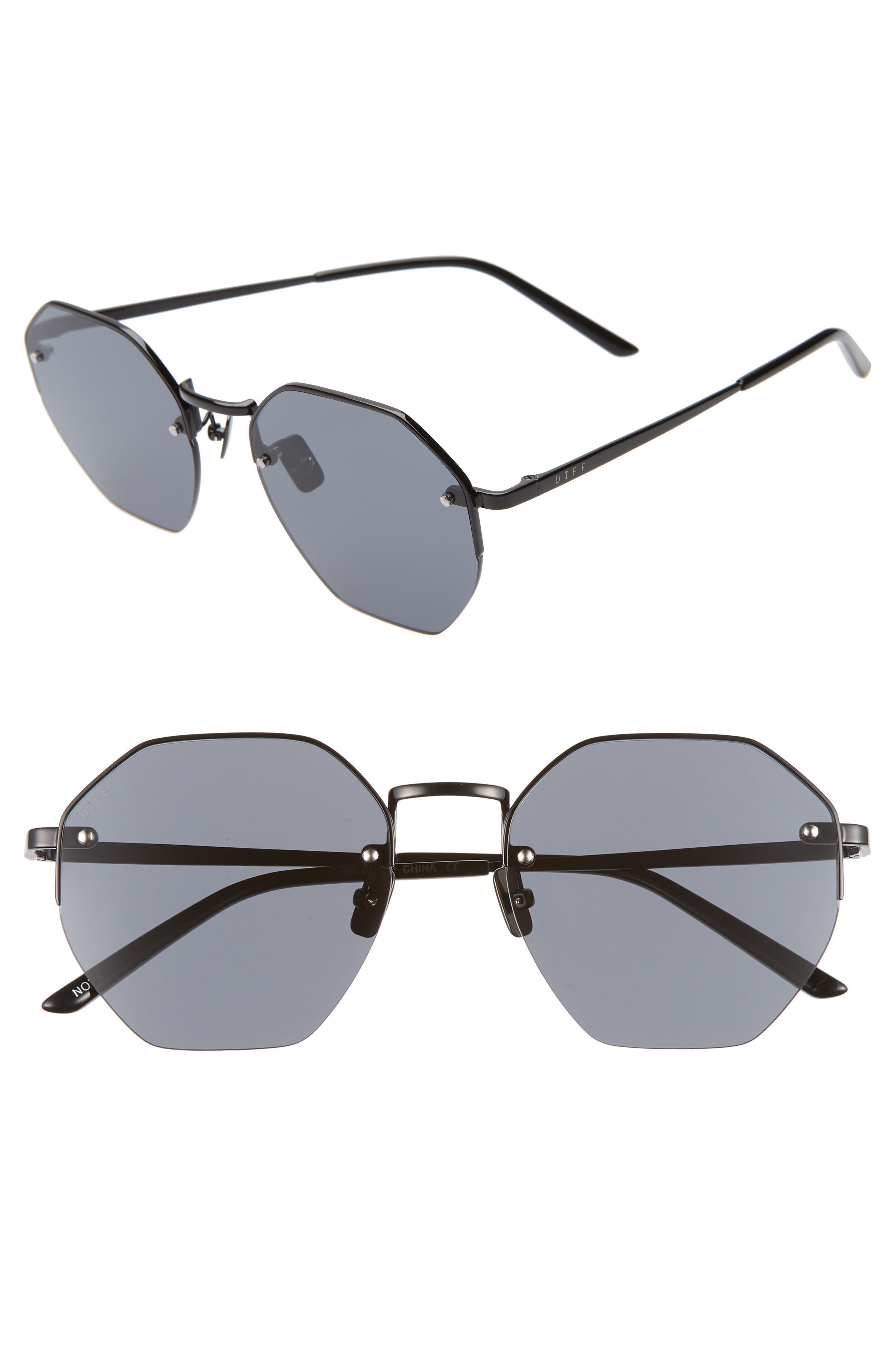 Nova 50mm Polarized Semi Rimless Geo Sunglasses,                             Main thumbnail 1, color,                             BLACK/ SMOKE
