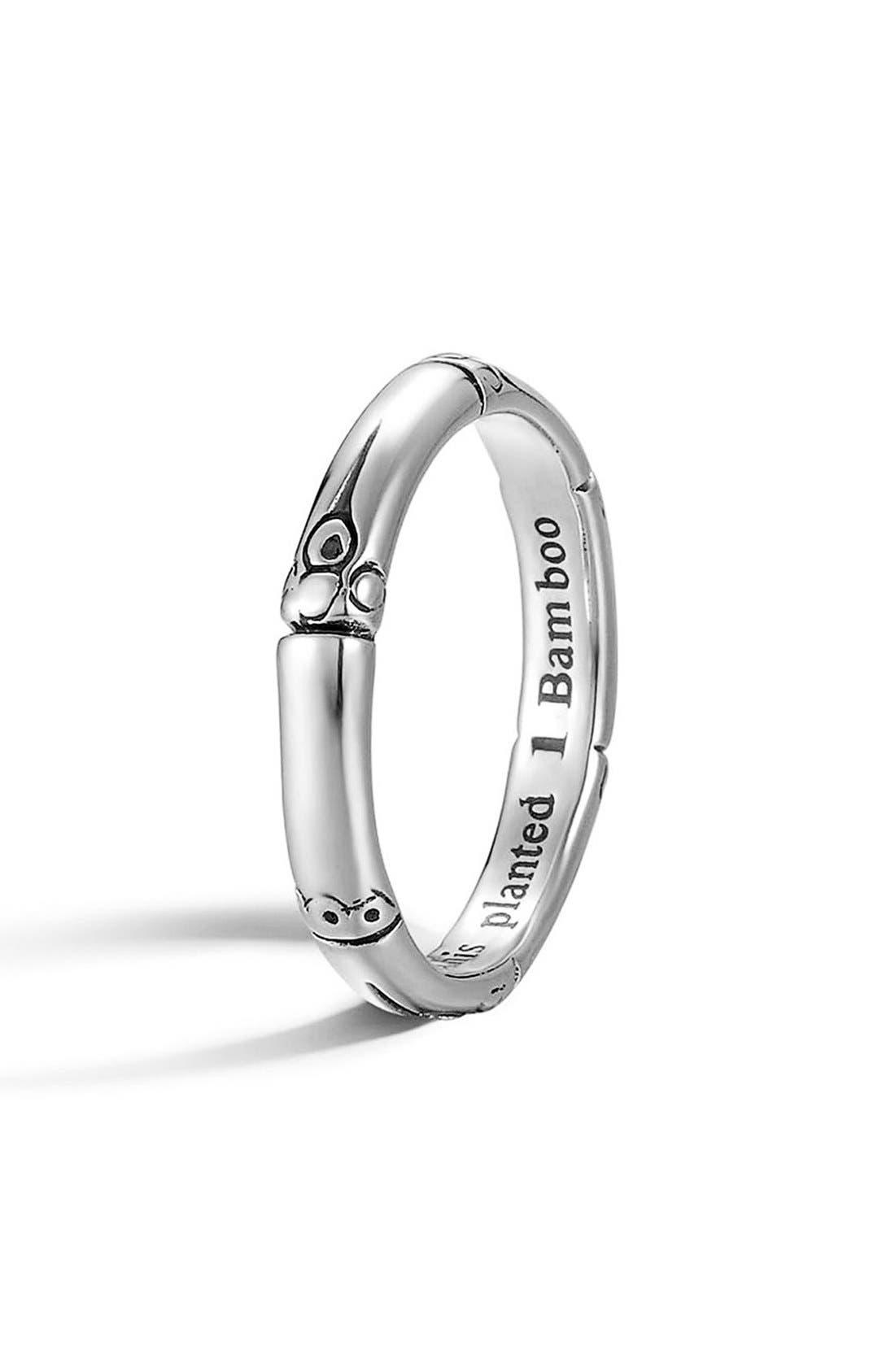 'Bamboo' Silver Ring,                         Main,                         color, SILVER