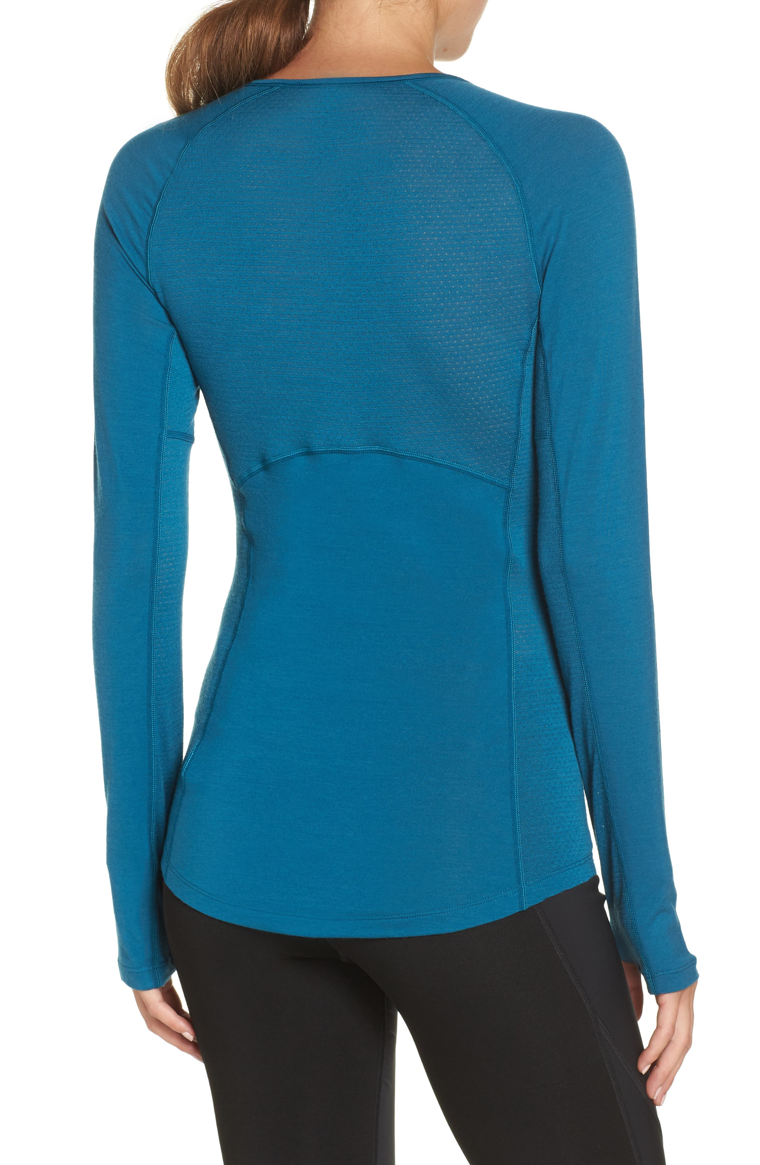 BodyfitZONE<sup>™</sup> 150 Zone Merino Wool Blend Base Layer Tee,                             Alternate thumbnail 2, color,                             KING FISCHER/ ARCTIC TEAL