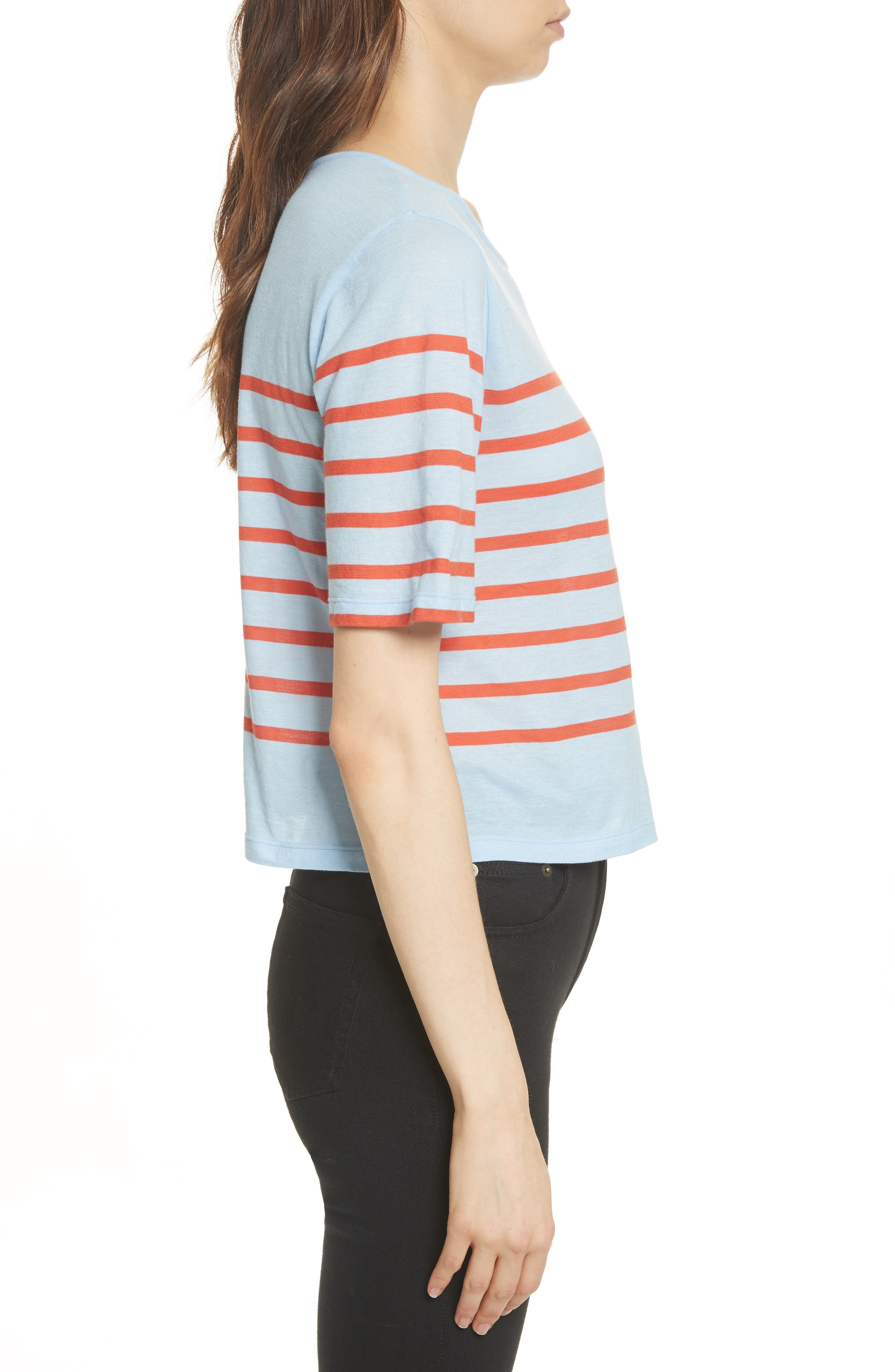The Crop Stripe Tee,                             Alternate thumbnail 3, color,                             450