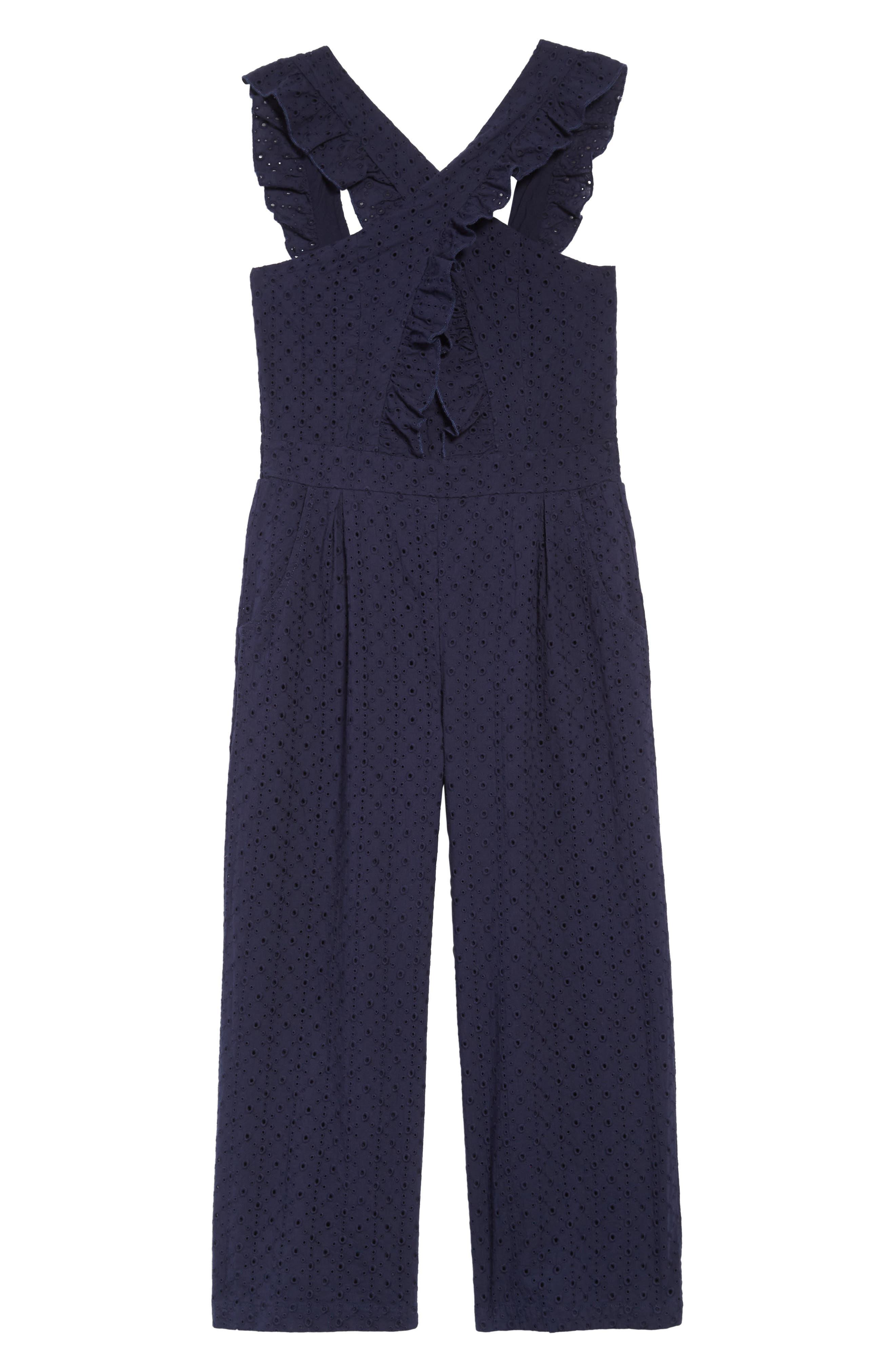 Girls Habitual Kids Mila Crisscross Jumpsuit Size 10  Blue