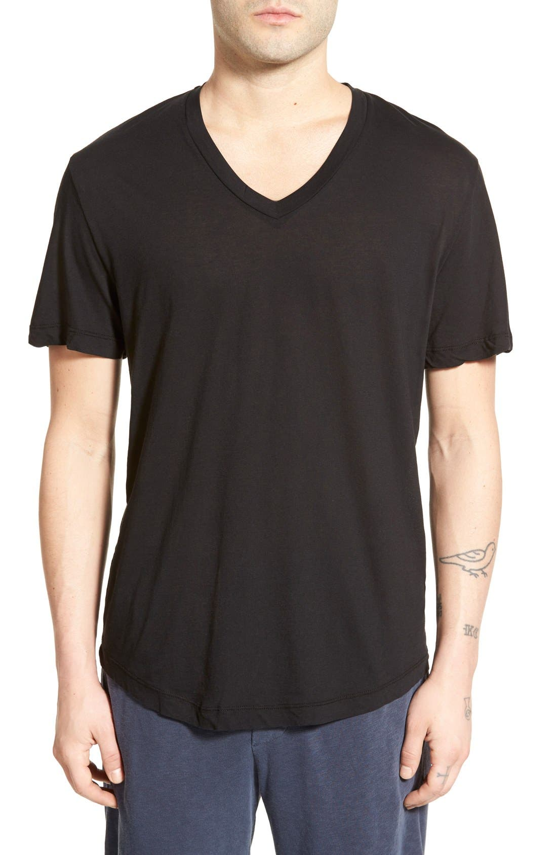 'Clear Jersey' Mélange V-Neck T-Shirt,                             Main thumbnail 3, color,