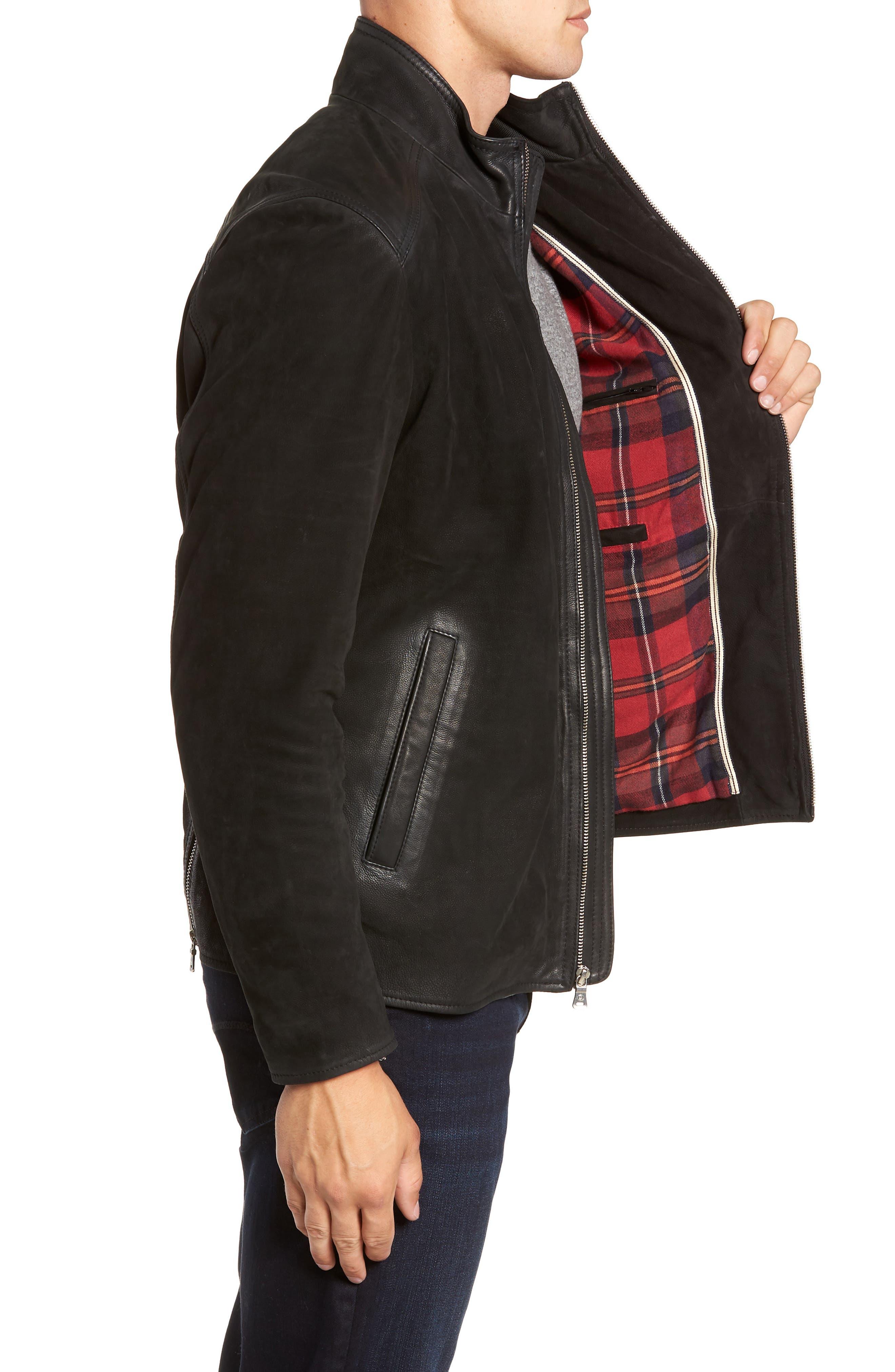 Regular Fit Leather Moto Jacket,                             Alternate thumbnail 3, color,                             BLACK