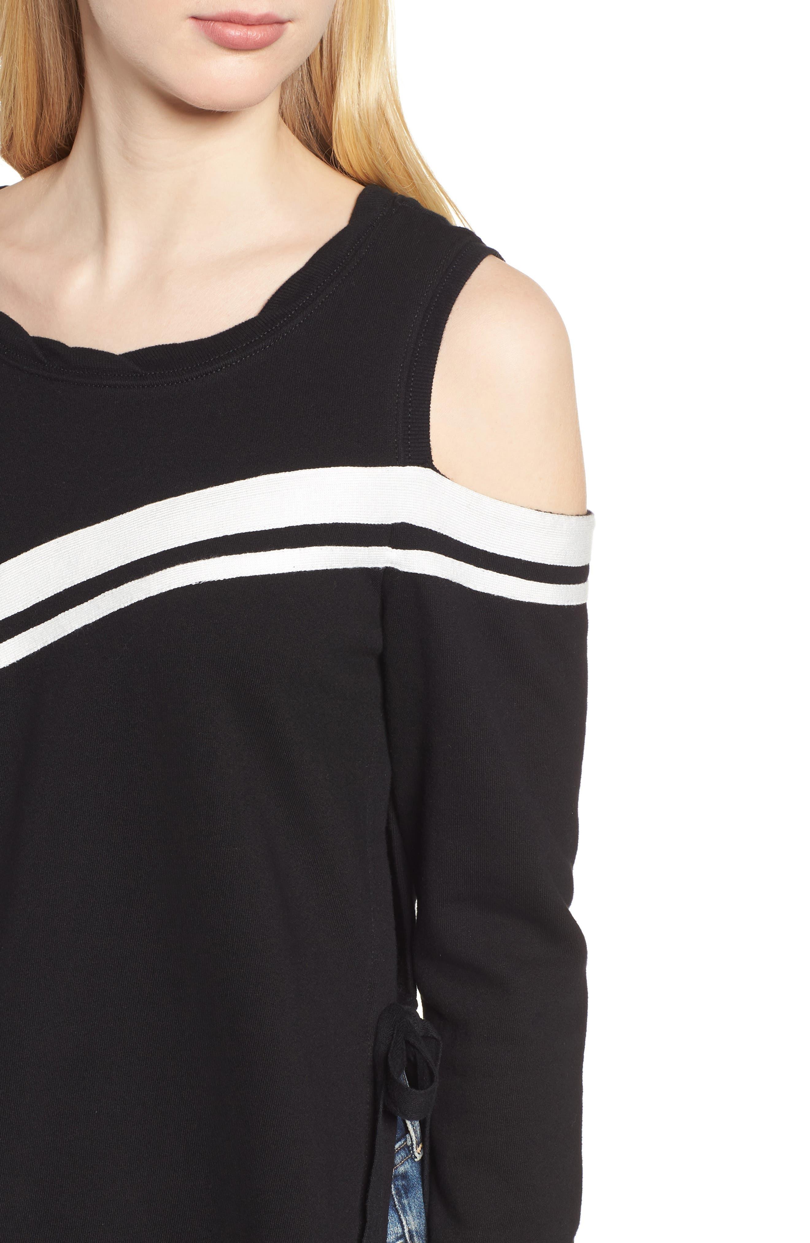 Cold Shoulder Sweatshirt,                             Alternate thumbnail 4, color,                             001