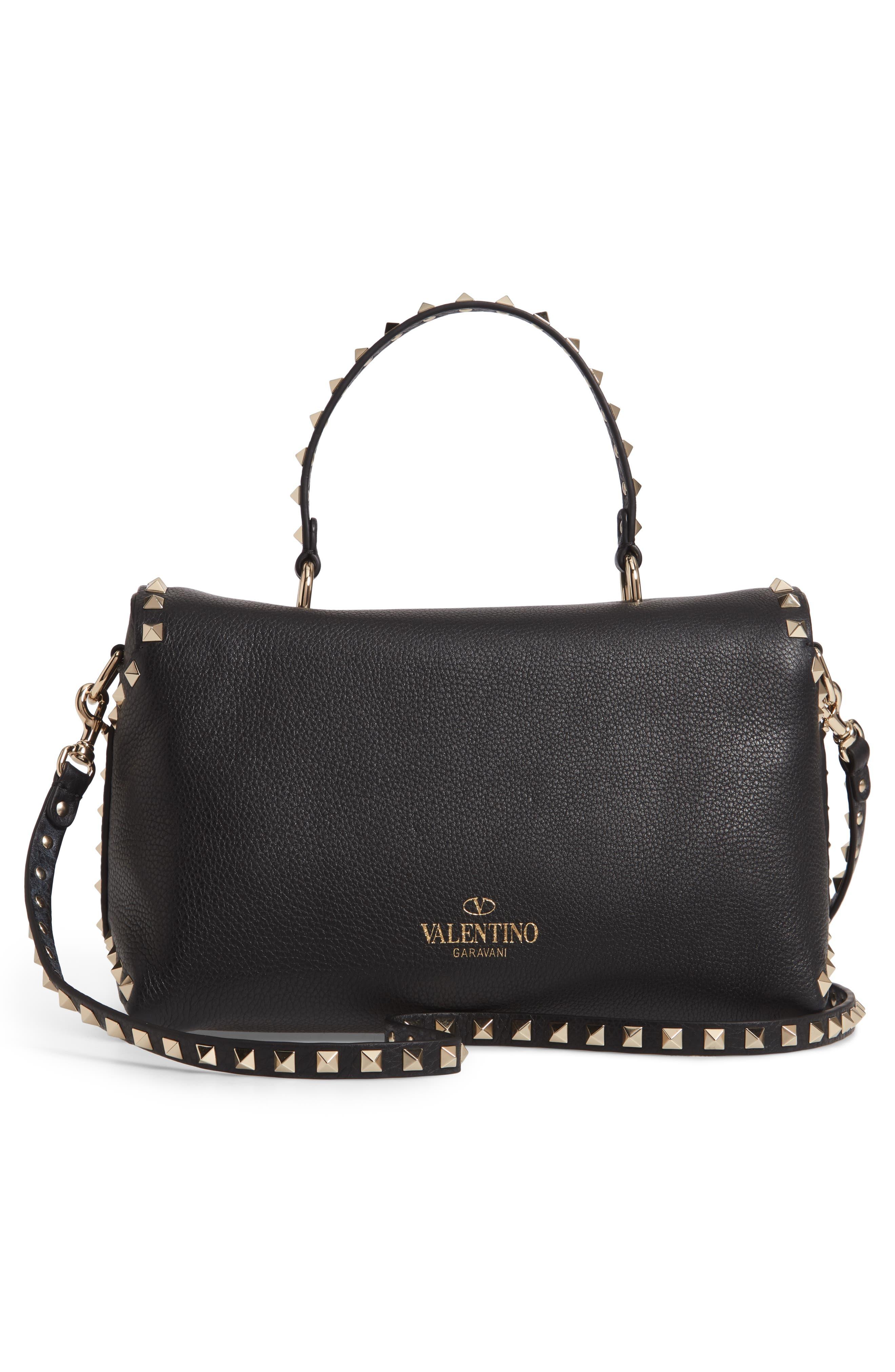 Rockstud Leather Top Handle Bag,                             Alternate thumbnail 3, color,                             NERO