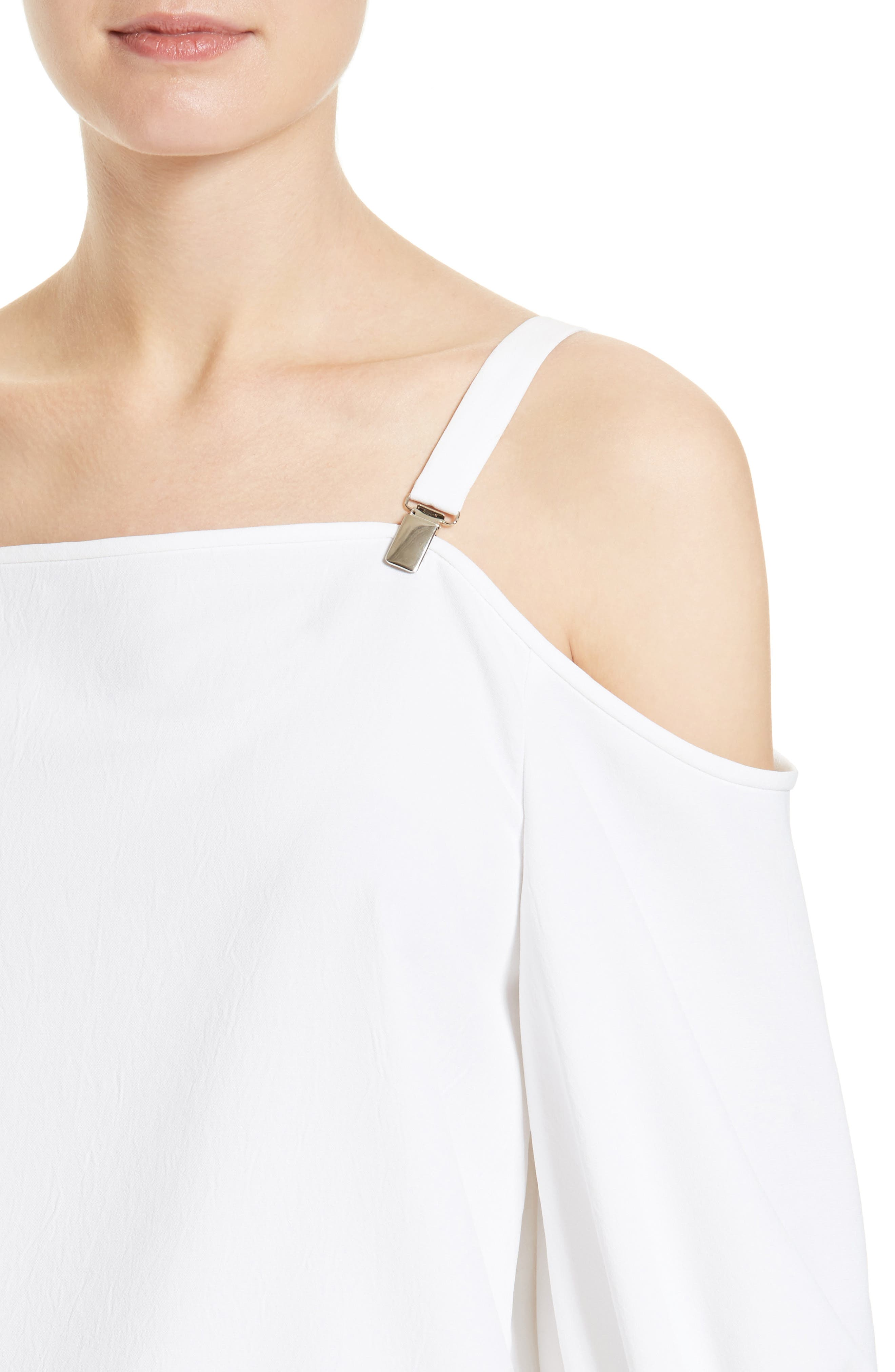 Drape Twill Off the Shoulder Top,                             Alternate thumbnail 4, color,                             100