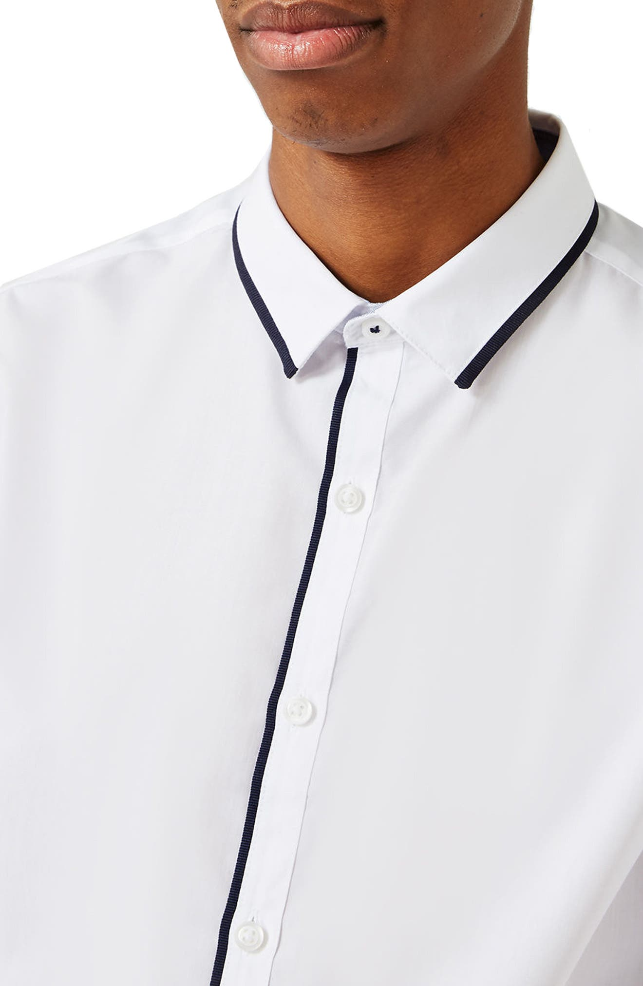 White Contrast Dress Shirt,                             Alternate thumbnail 2, color,                             100
