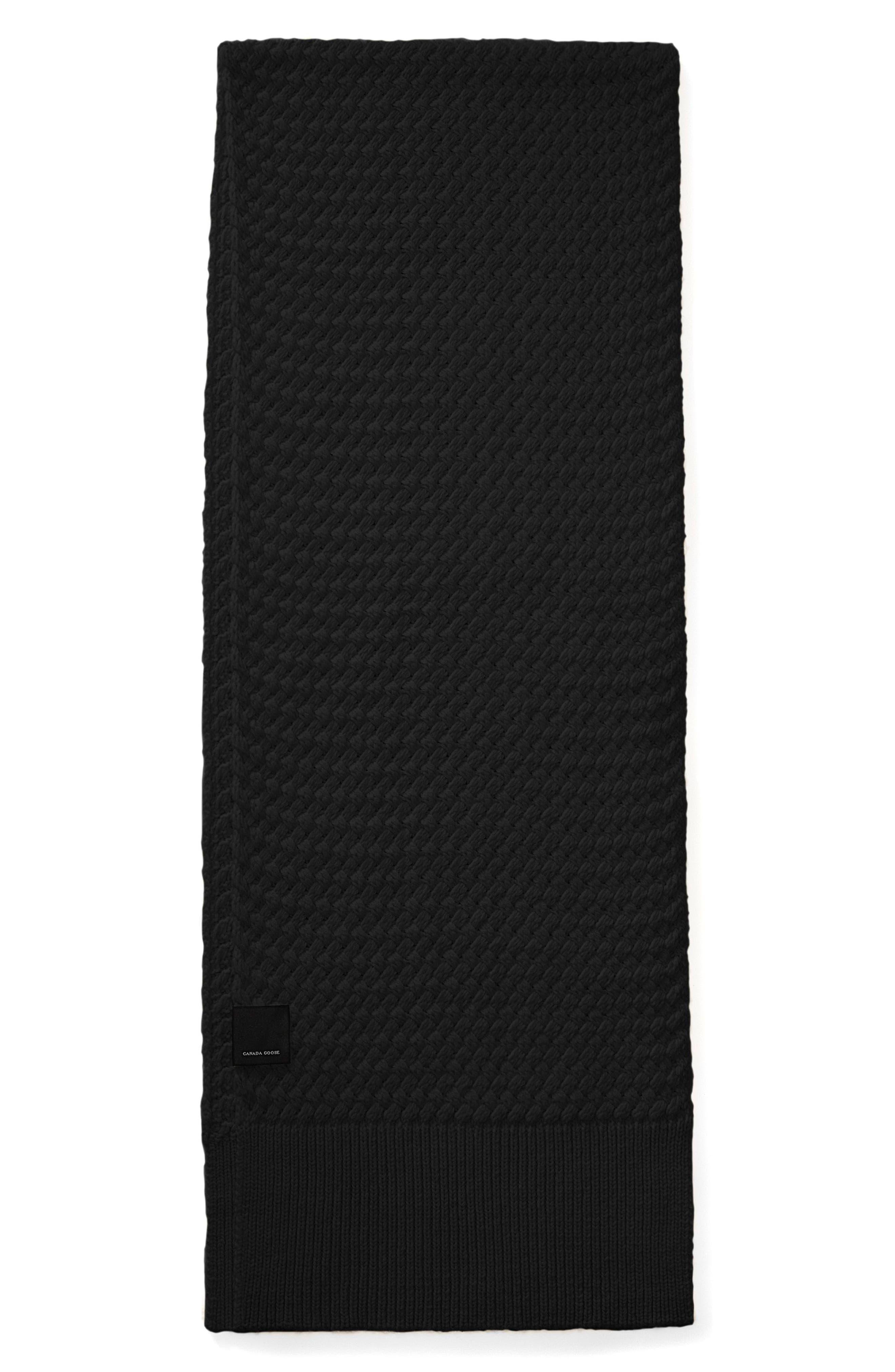 Basket Weave Merino Wool Scarf,                             Main thumbnail 1, color,                             BLACK