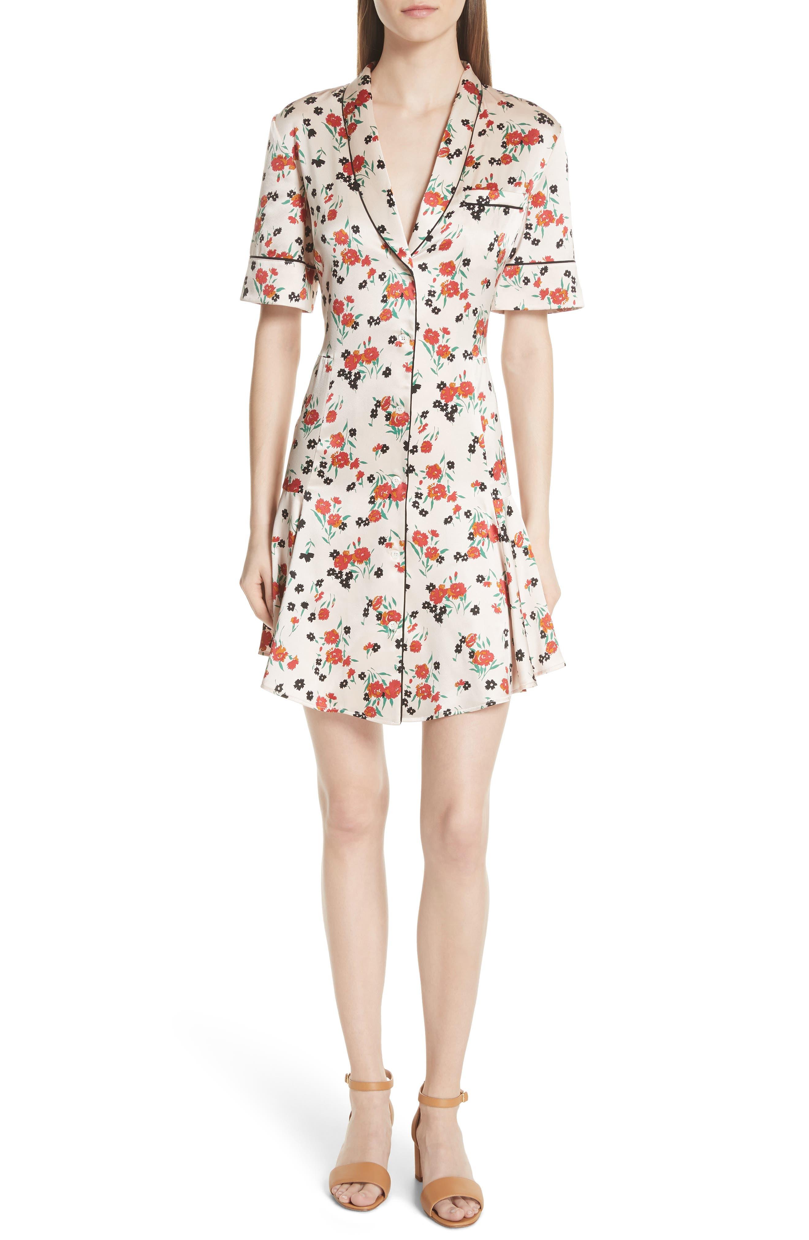 A.l.c. Ruthie Floral Print Stretch Silk Dress, Pink