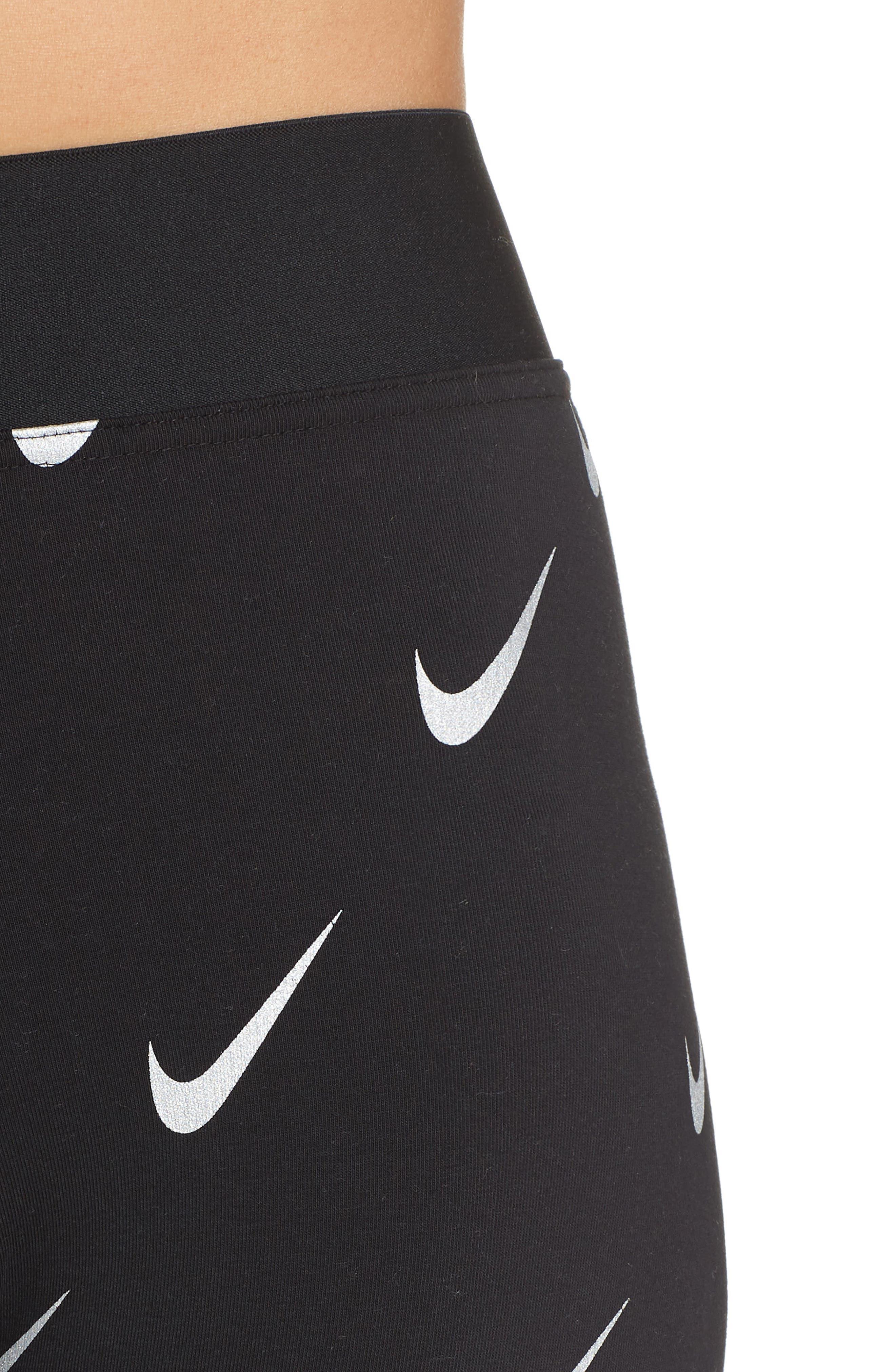 Sportswear Allover Print Logo Leggings,                             Alternate thumbnail 4, color,                             BLACK