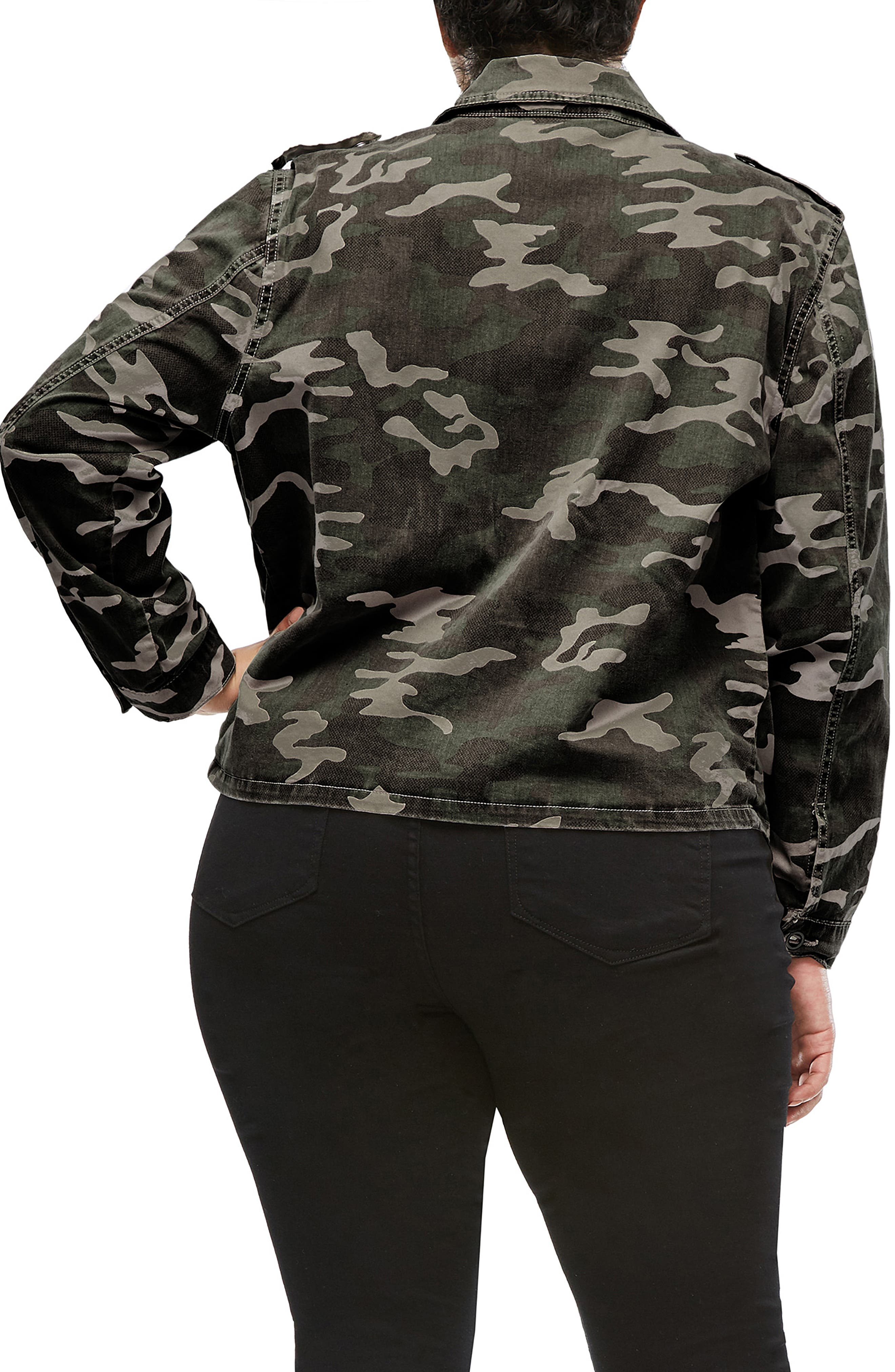 Camo Print Military Jacket,                             Alternate thumbnail 5, color,                             301