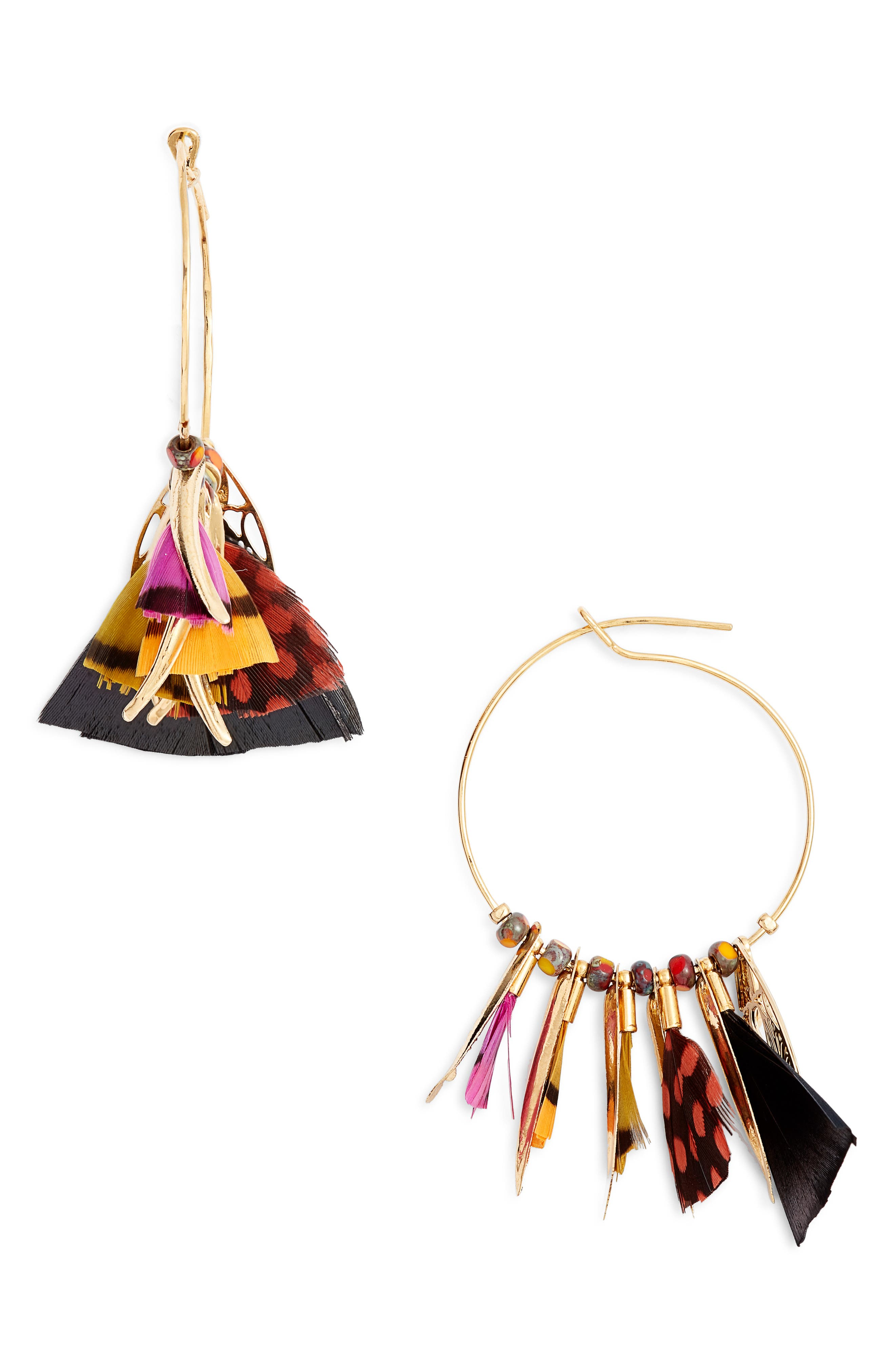 Small Marly Feather Hoop Earrings,                             Main thumbnail 1, color,                             BLACK MULTI