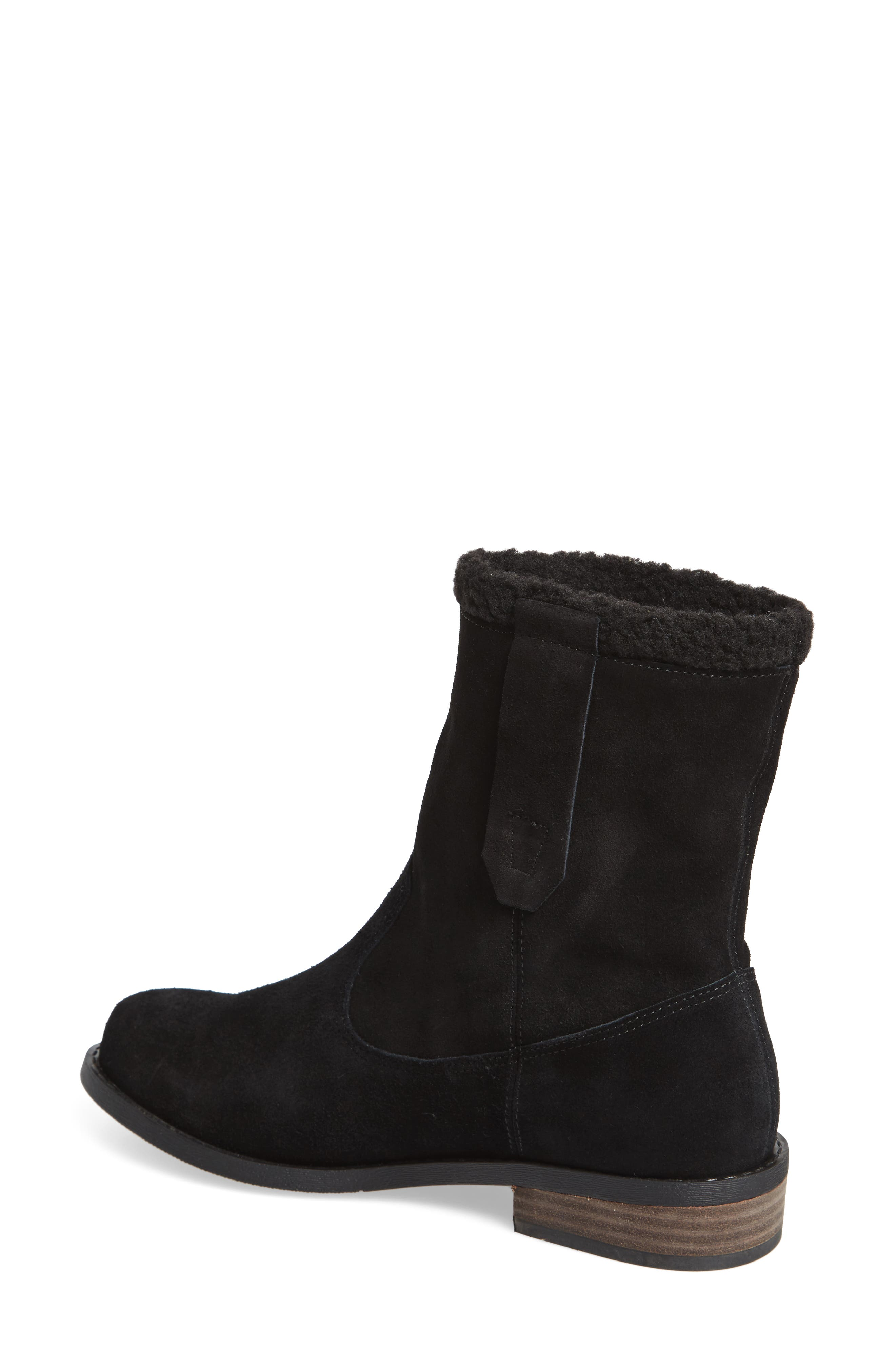 Verona Faux Shearling Boot,                             Alternate thumbnail 2, color,                             BLACK/ BLACK SUEDE