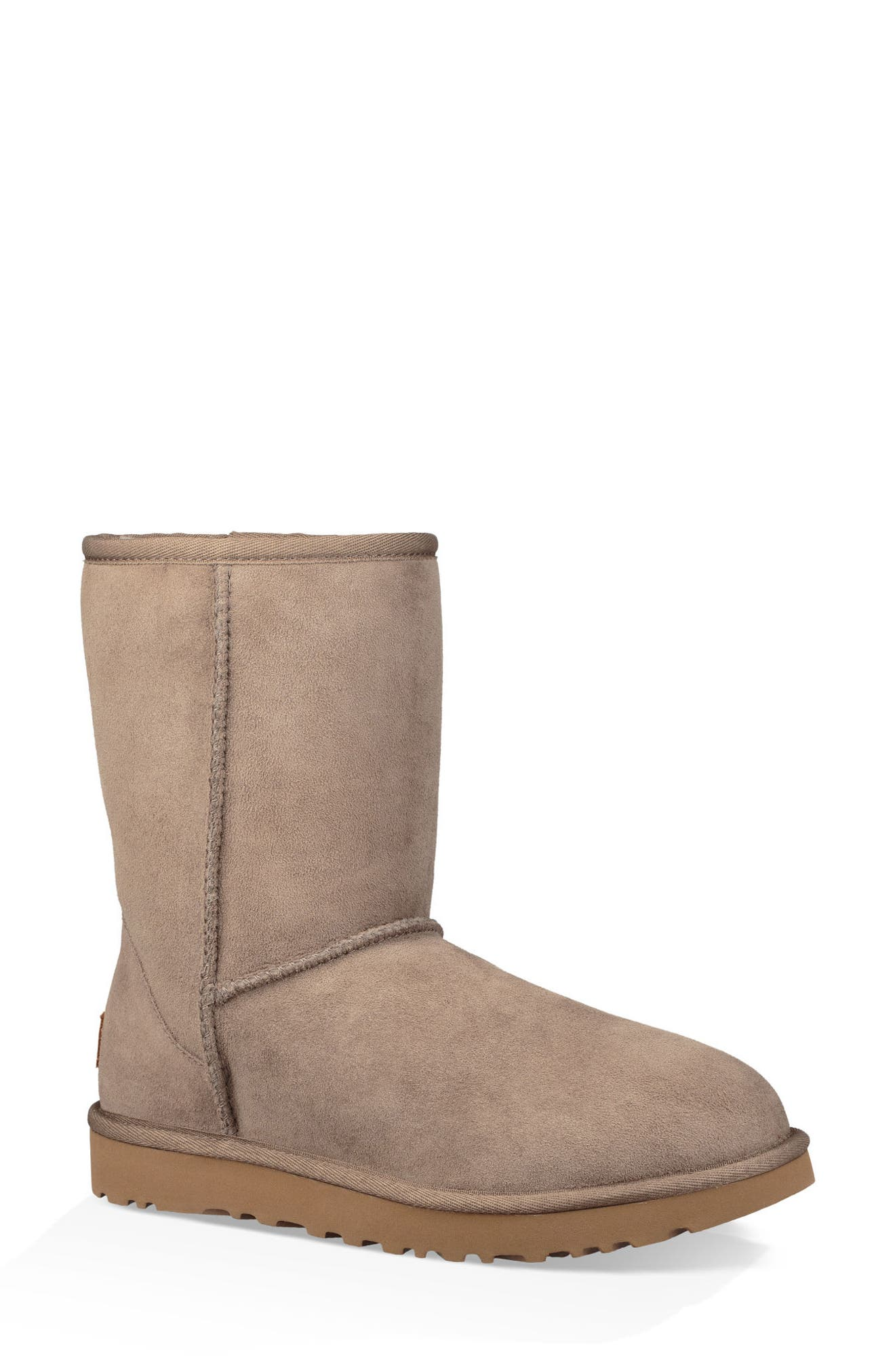 'Classic II' Genuine Shearling Lined Short Boot,                             Main thumbnail 1, color,                             BRINDLE SUEDE