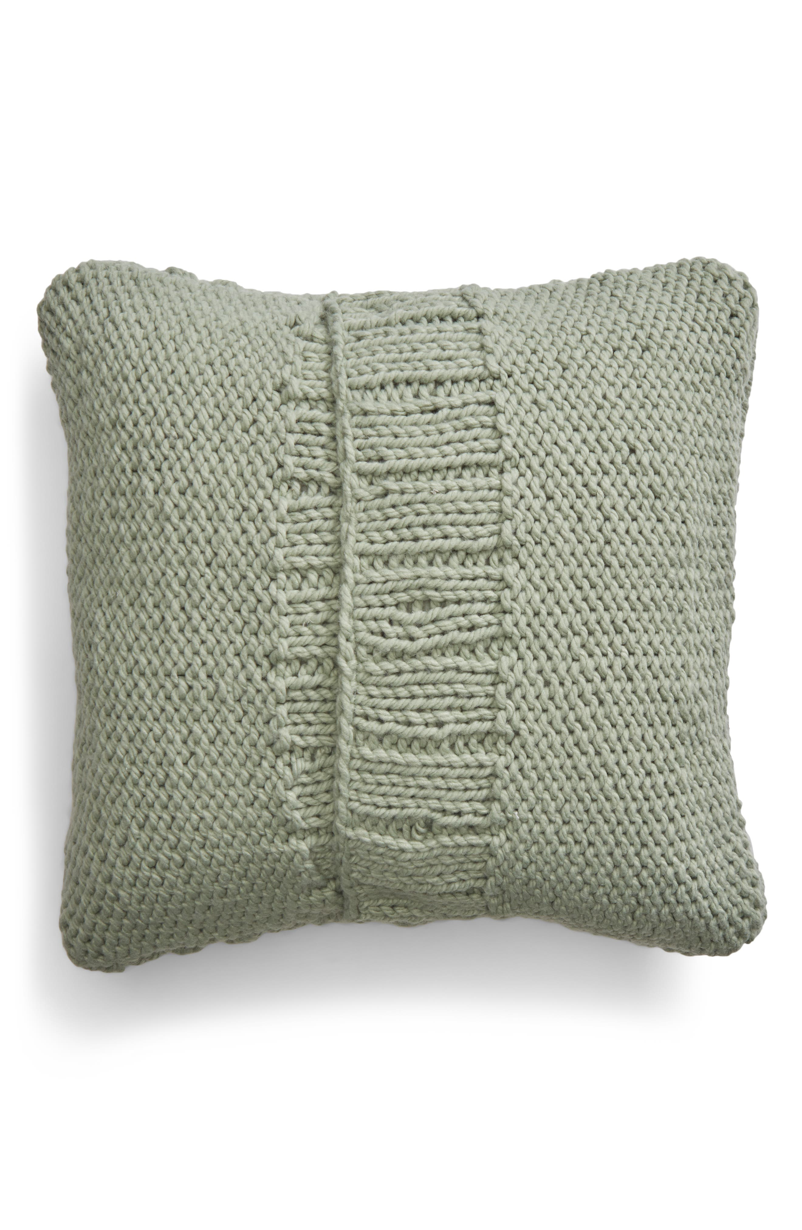 Chunky Cable Knit Accent Pillow,                             Alternate thumbnail 2, color,                             GREEN ICEBERG