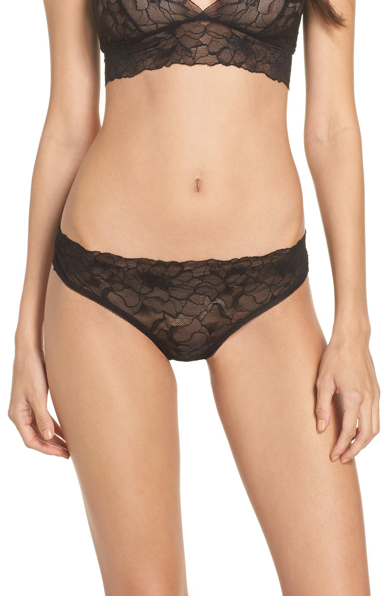 All Lace Glamour Lace Thong,                         Main,                         color, BLACK