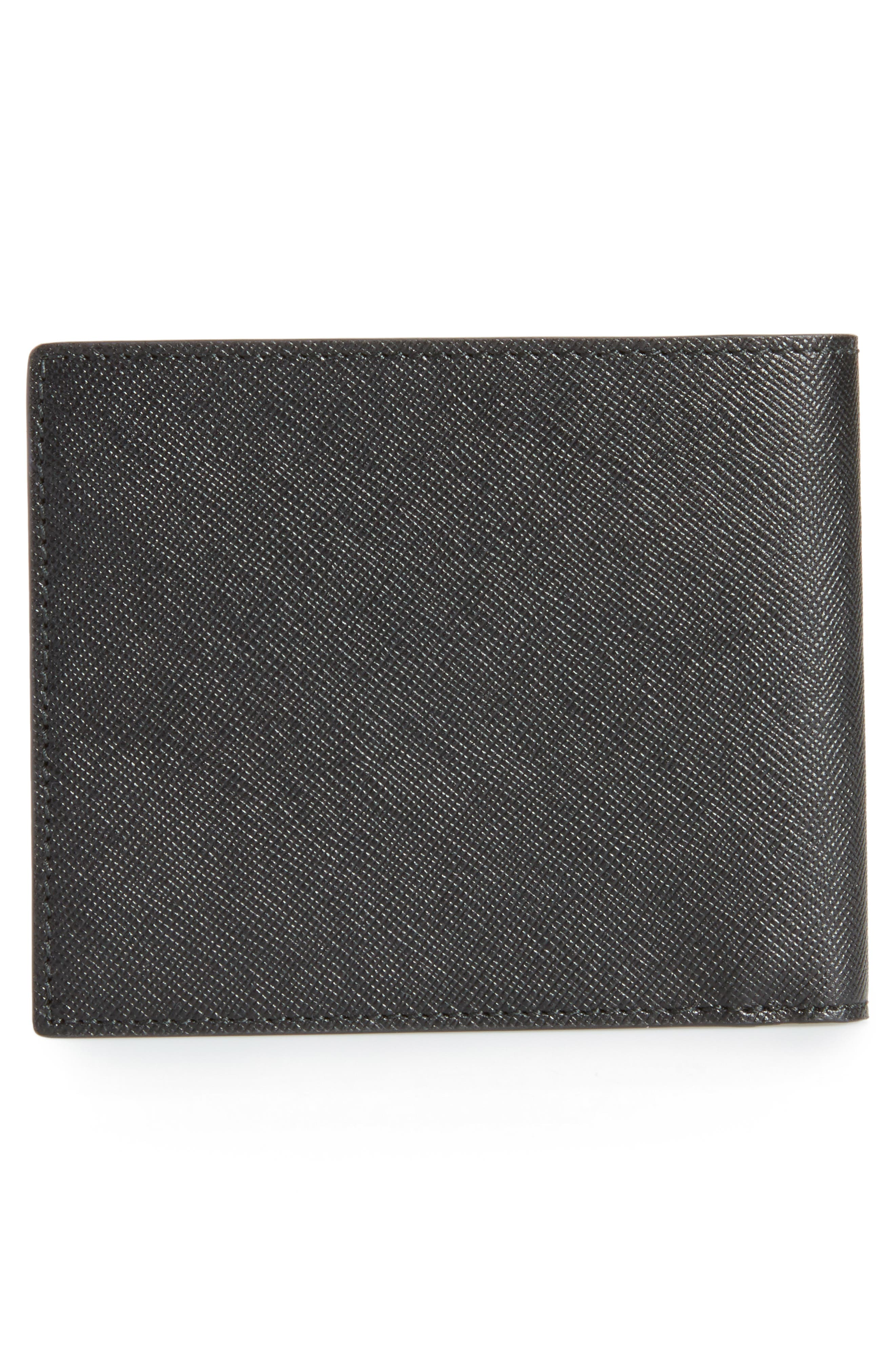 Sartorial Leather Wallet,                             Alternate thumbnail 3, color,                             BLACK