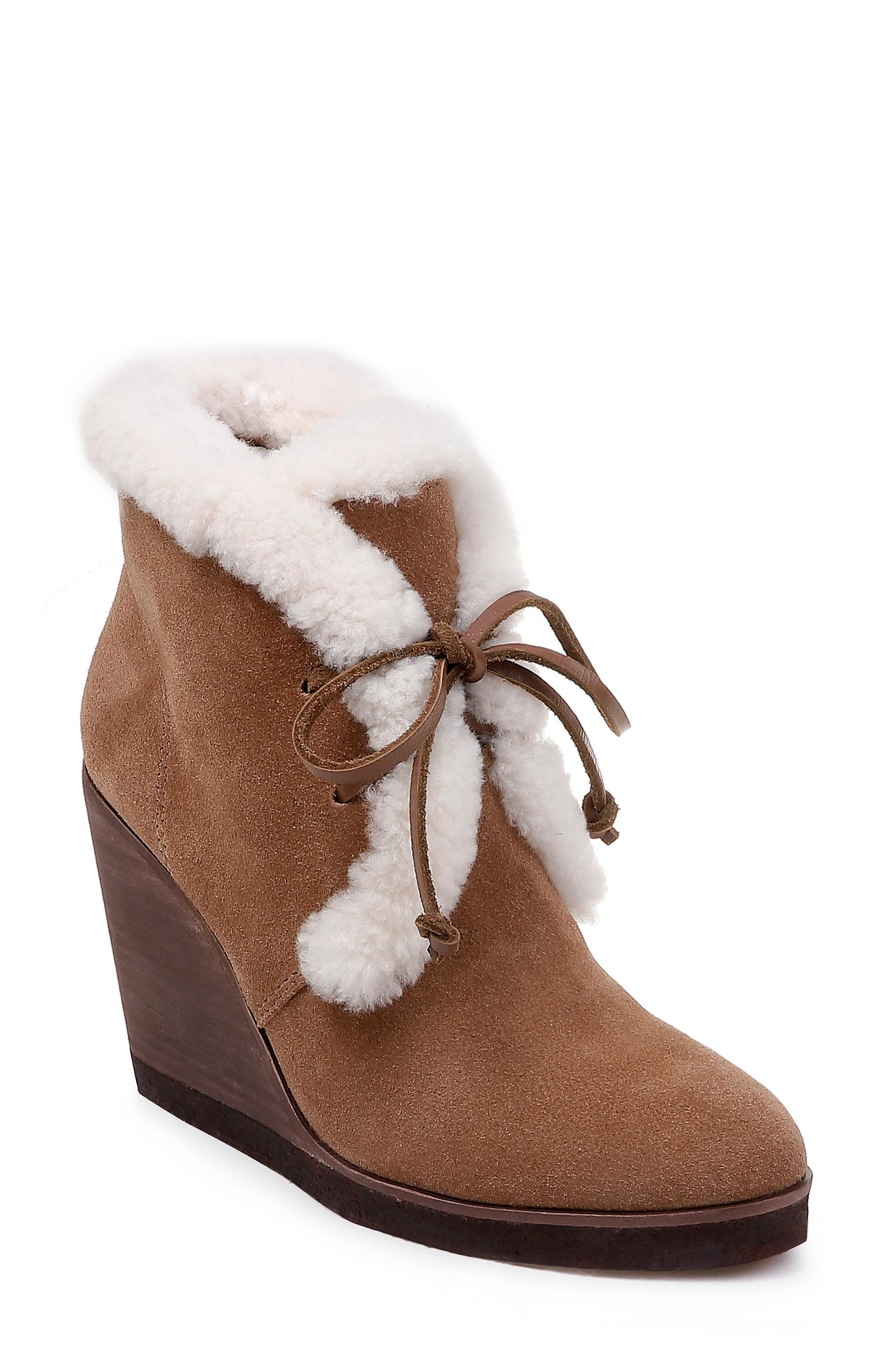 Catalina Faux-Shearling Wedge Bootie,                             Main thumbnail 1, color,                             LIGHT BROWN SUEDE