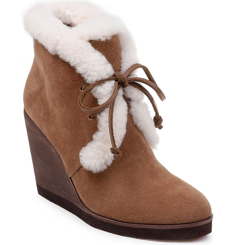 c832736d1708 Splendid Women S Catalina Suede Shearling Lace Up Wedge Booties In