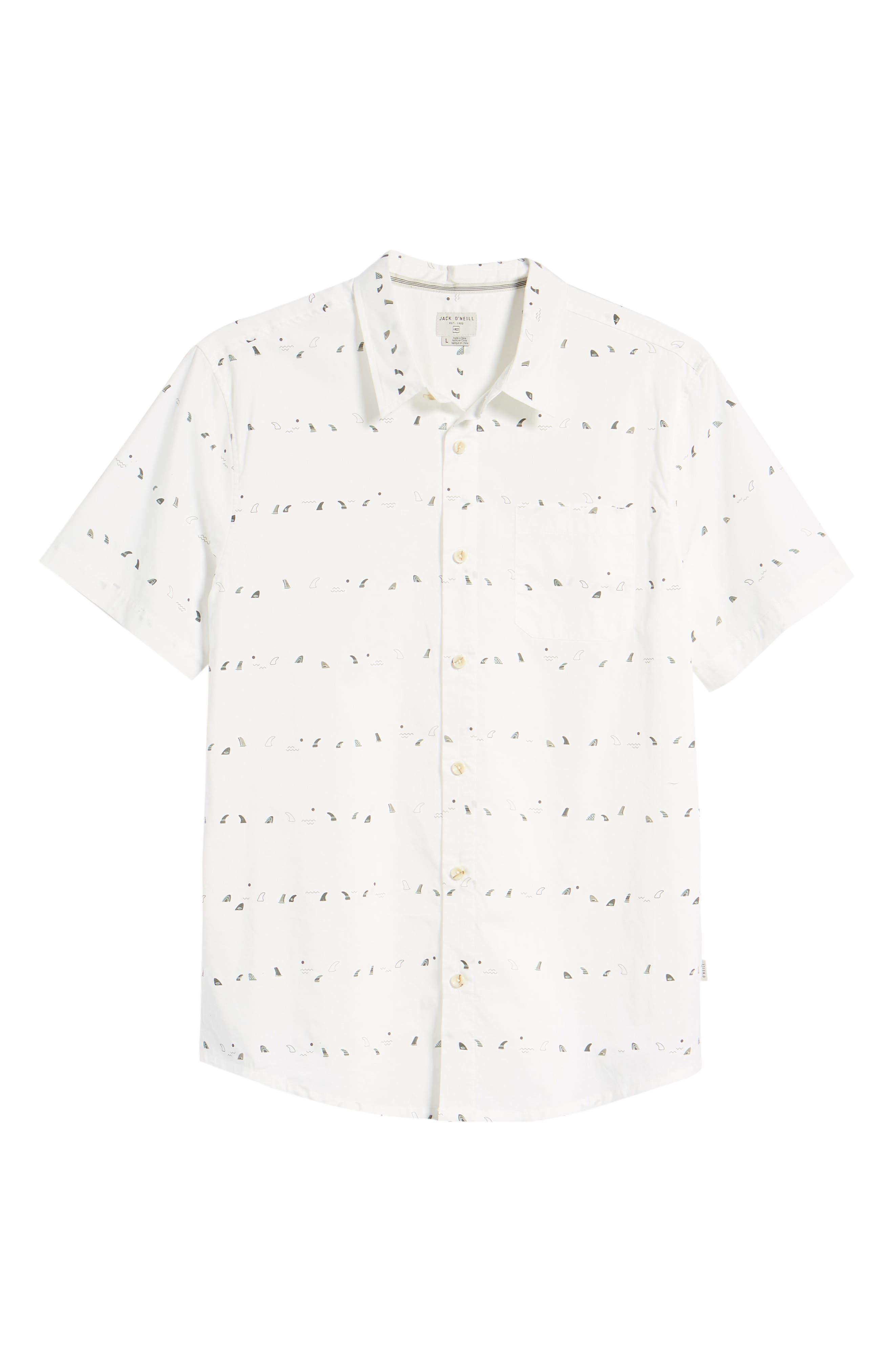 Single Fin Regular Fit Short Sleeve Sport Shirt,                             Alternate thumbnail 6, color,                             100