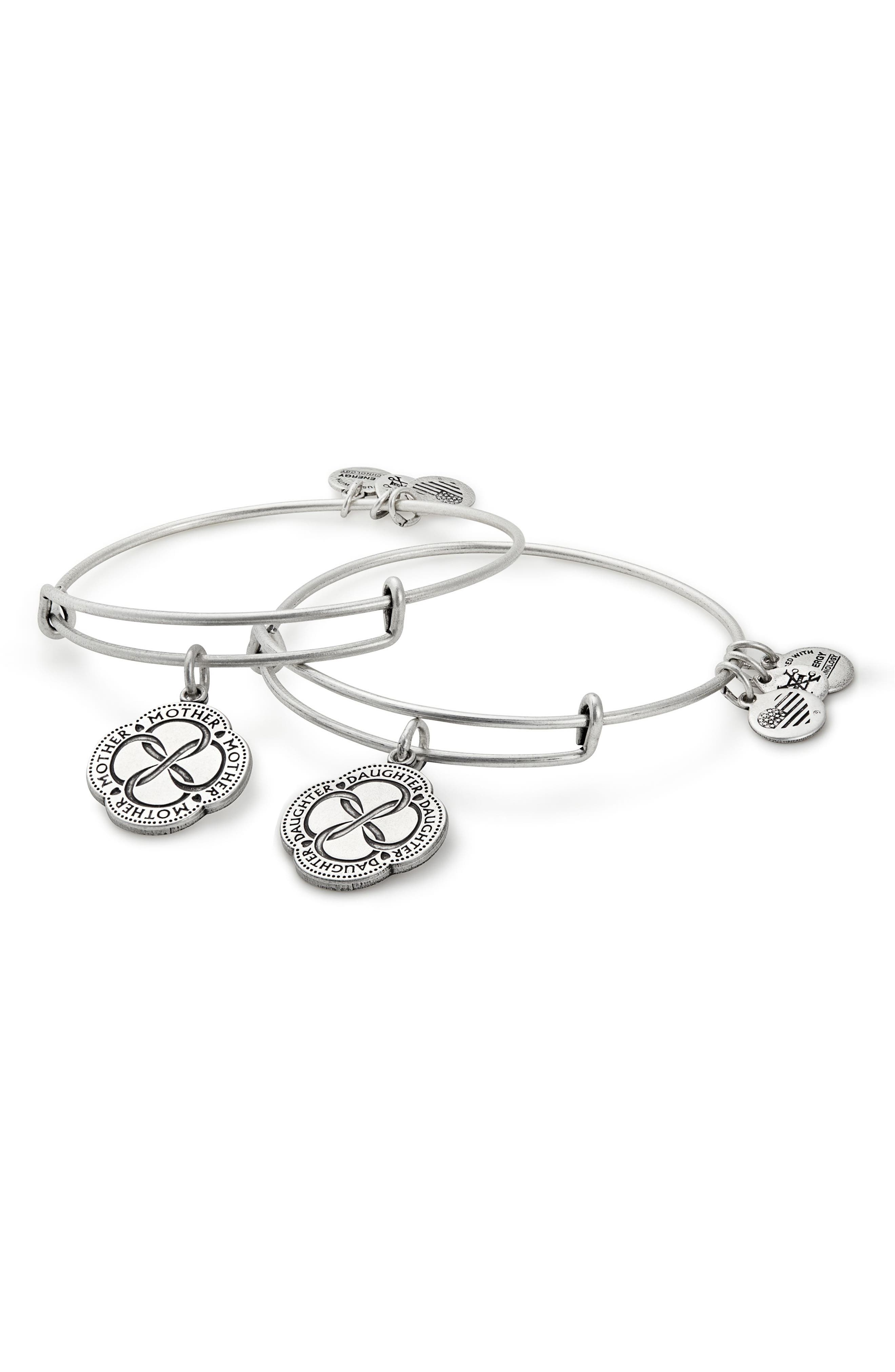 Infinite Connection Set of 2 Adjustable Wire Bangles,                             Main thumbnail 1, color,                             SILVER