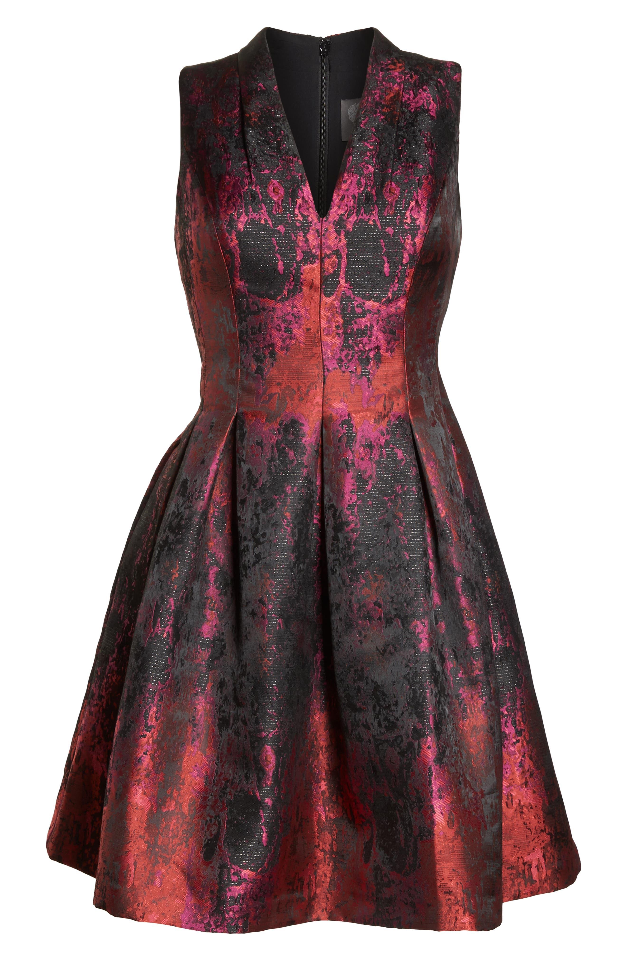 Jacquard Fit & Flare Dress,                             Alternate thumbnail 7, color,                             PINK MULTI