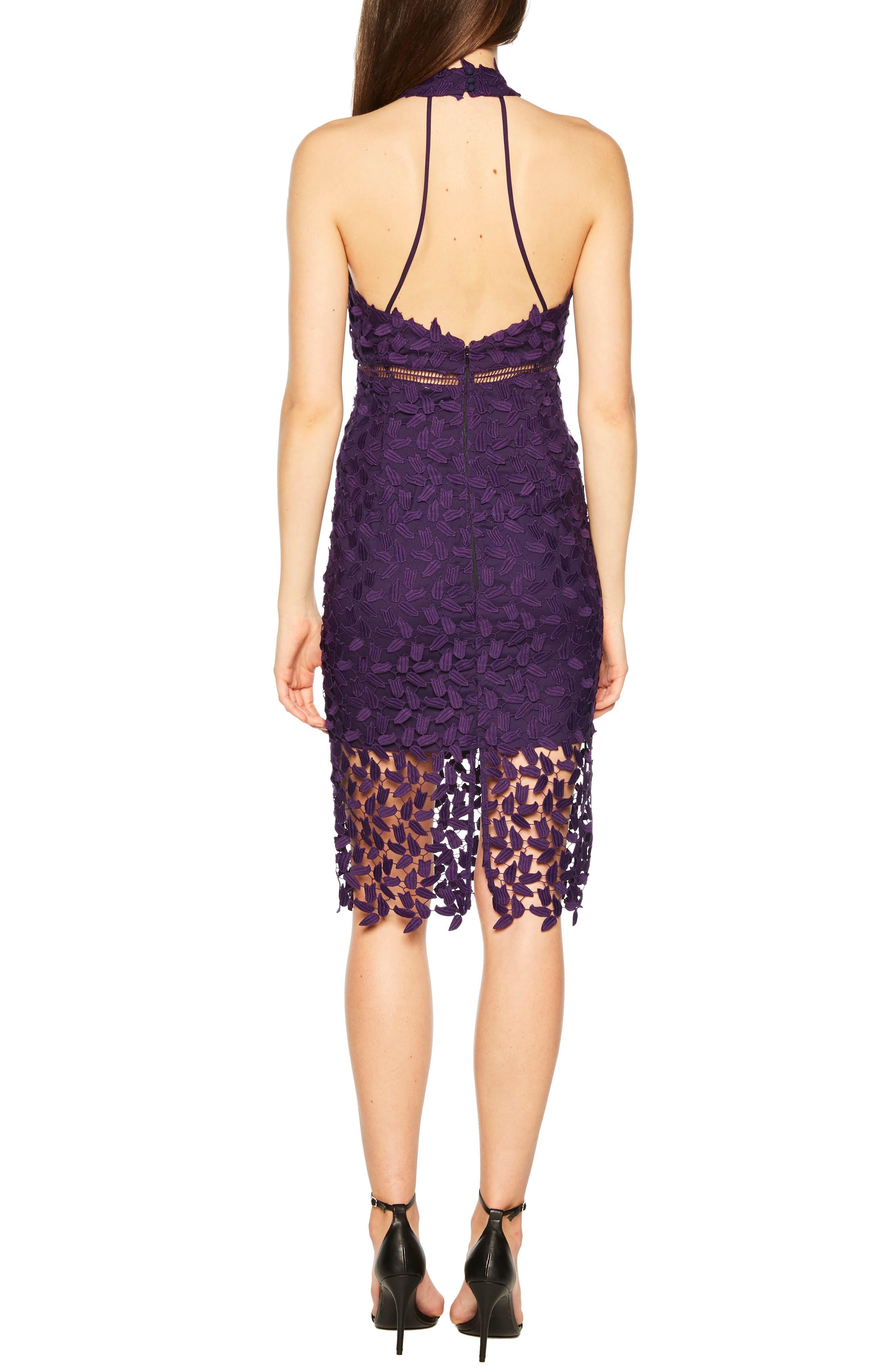 Gemma Halter Lace Sheath Dress,                             Alternate thumbnail 2, color,                             DARK PURPLE