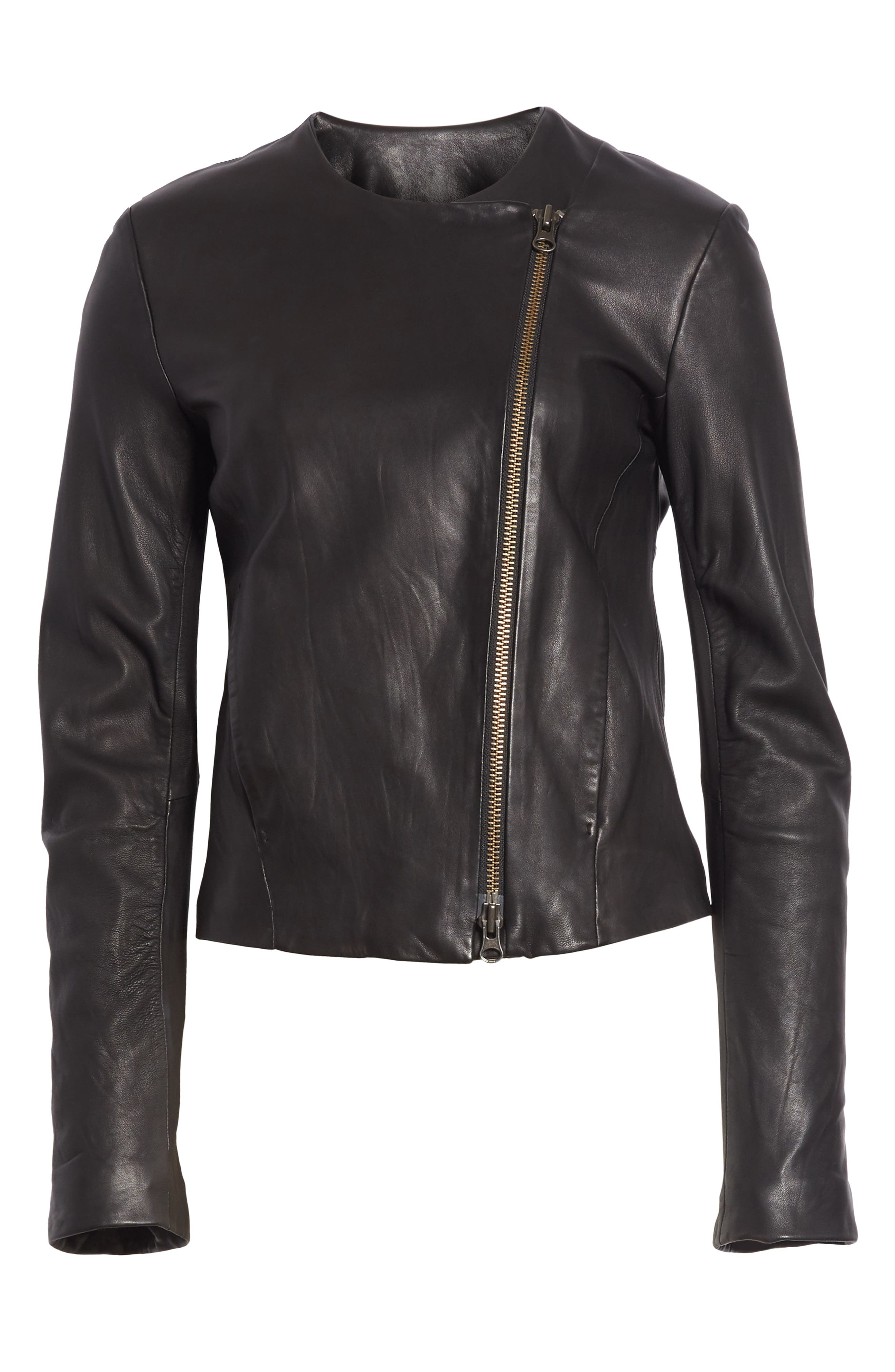 Zip Cross Front Leather Jacket,                             Alternate thumbnail 6, color,                             BLACK