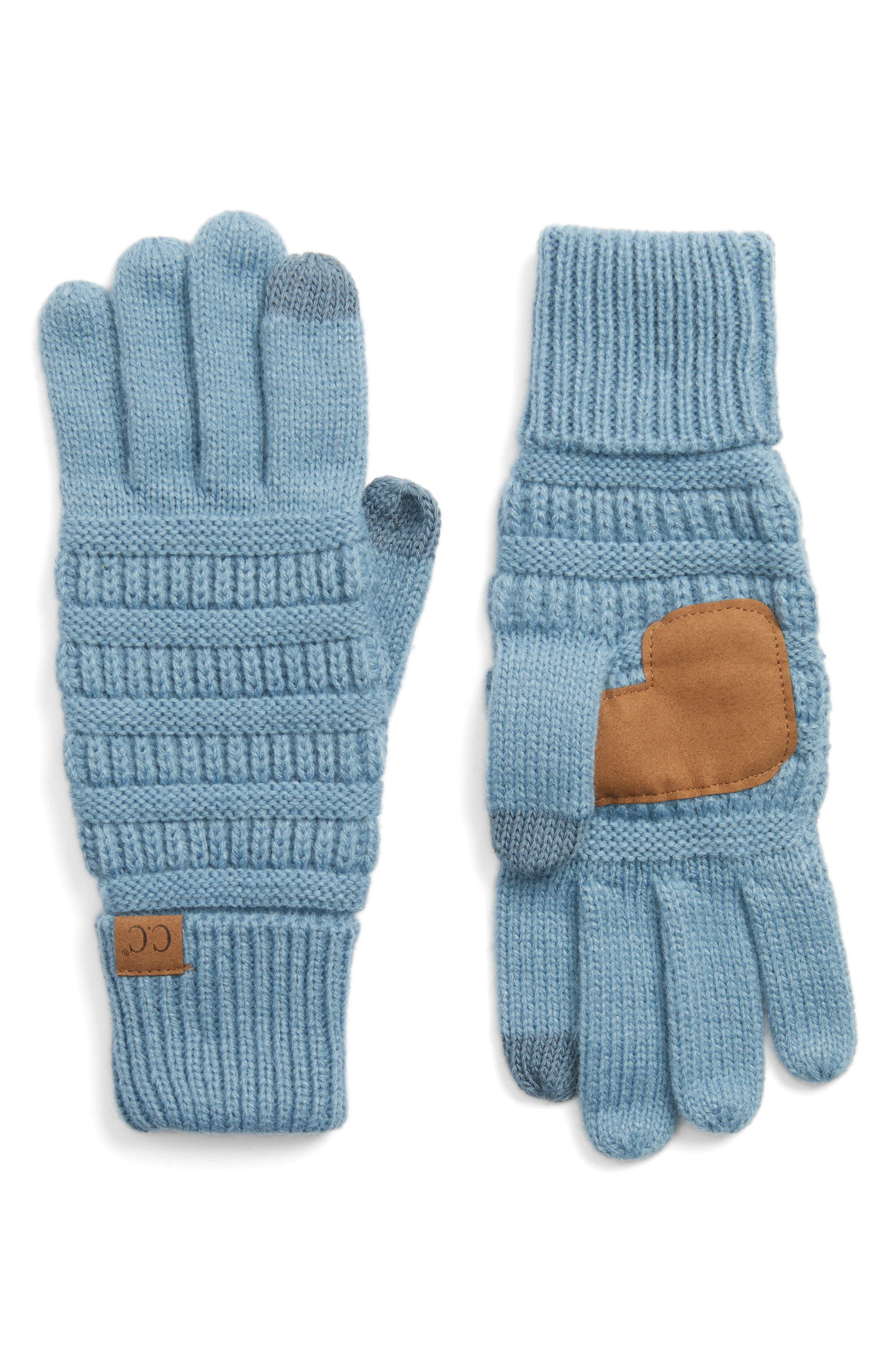 Rib Knit Tech Gloves,                             Main thumbnail 3, color,