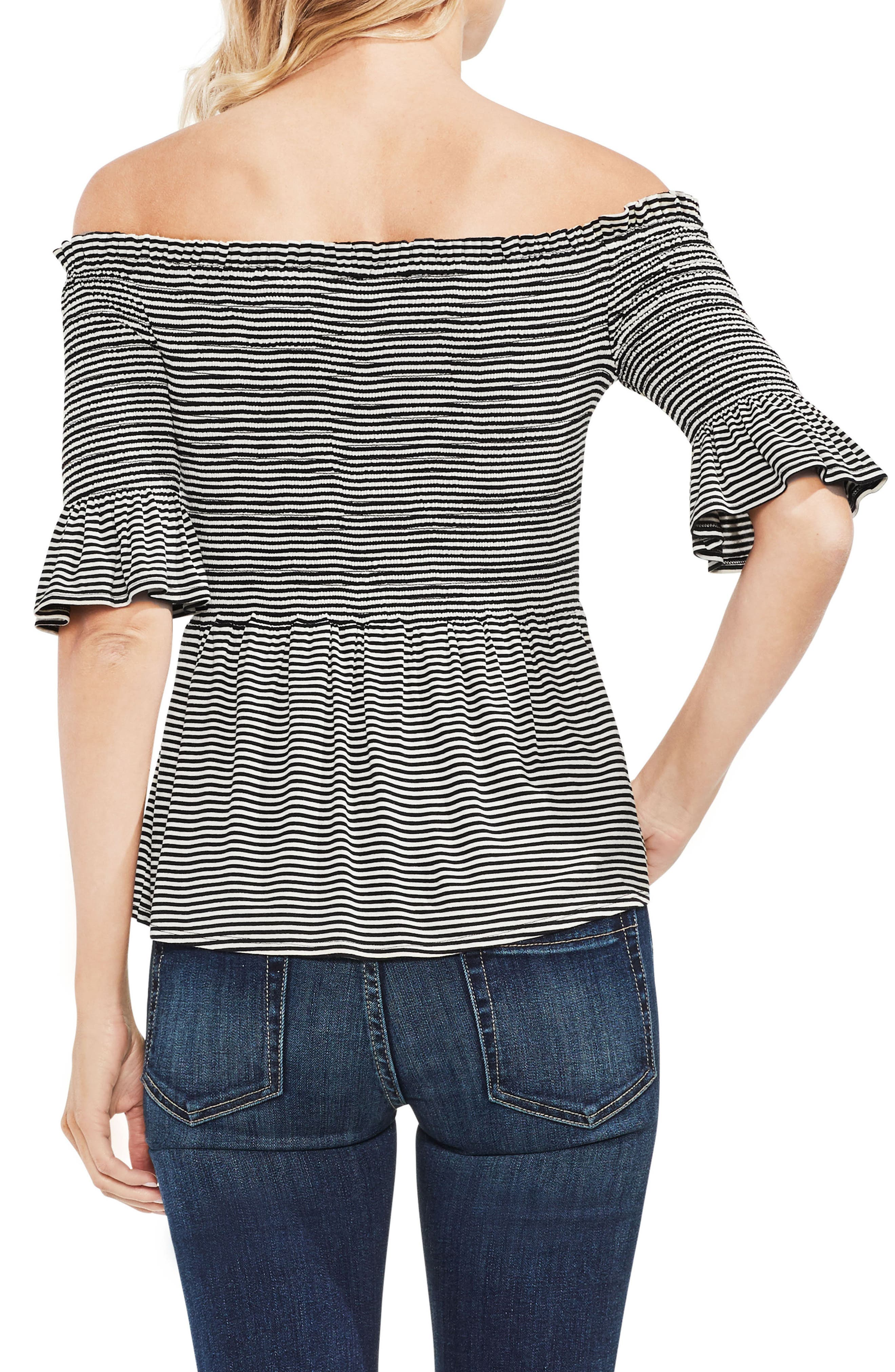 VINCE CAMUTO,                             Off The Shoulder Striped Top,                             Alternate thumbnail 2, color,                             001
