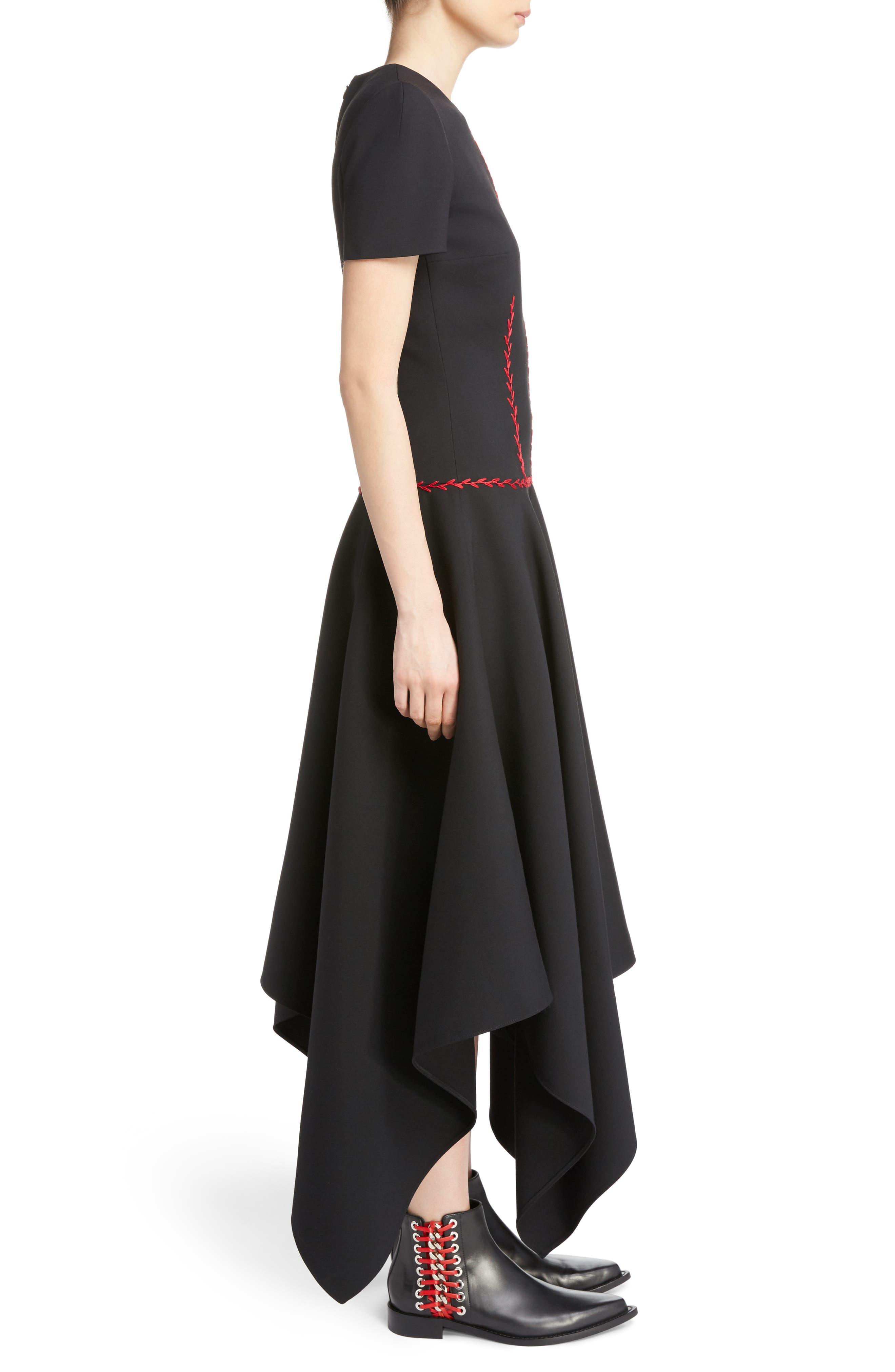 Stitched Handkerchief Hem Dress,                             Alternate thumbnail 3, color,                             001
