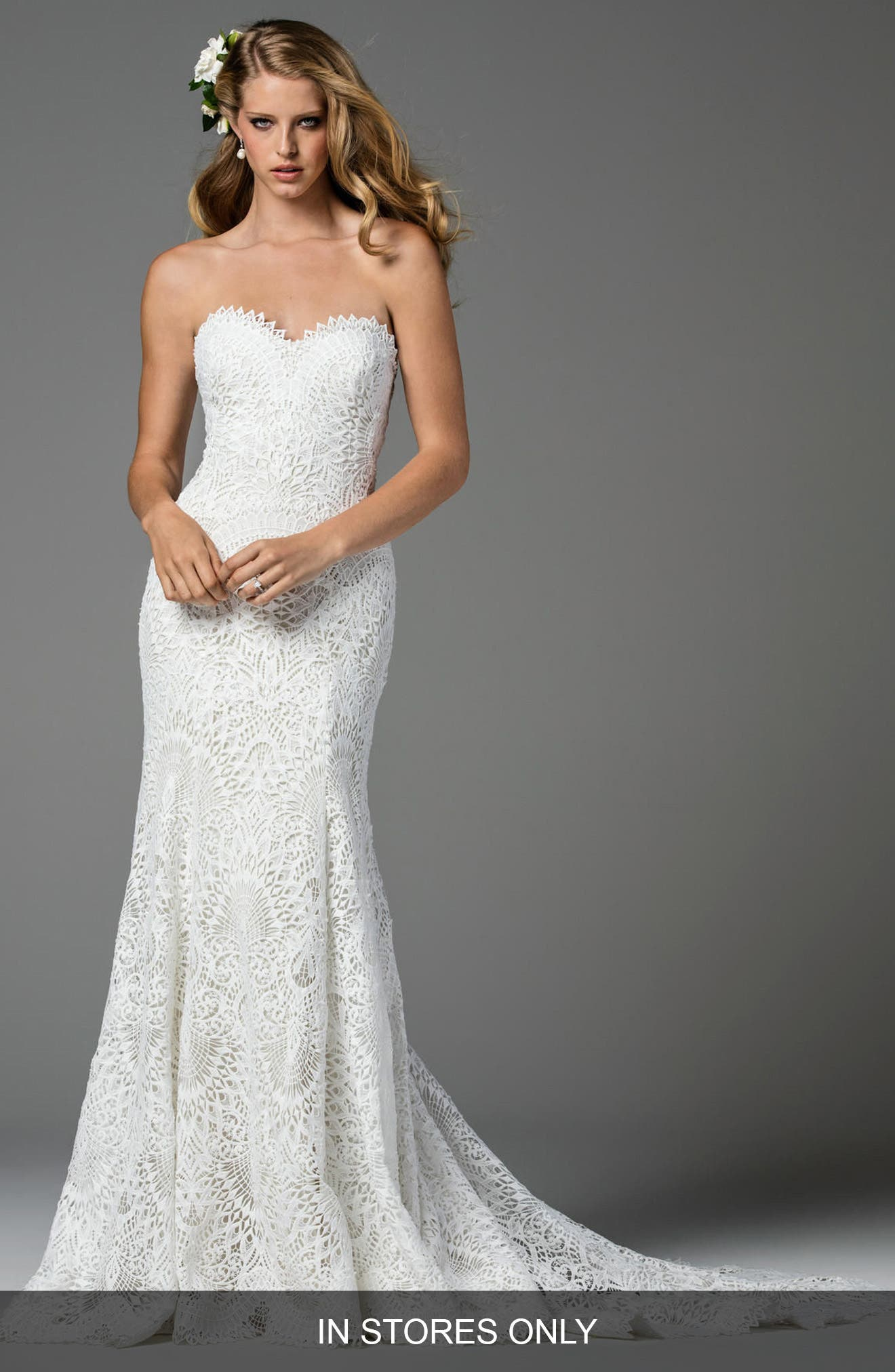 Taylor Strapless Lace Mermaid Gown,                             Main thumbnail 1, color,                             101