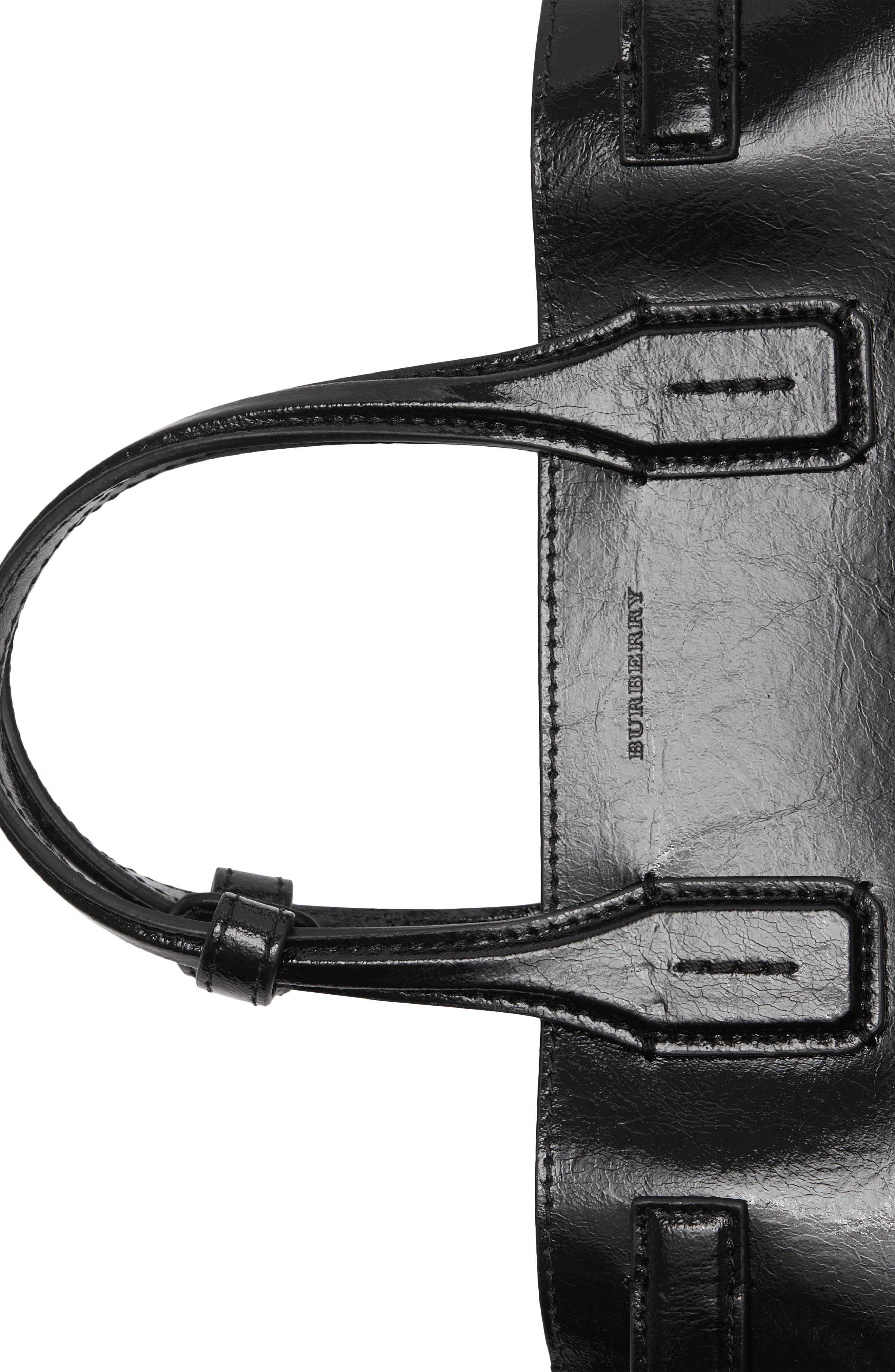 Small Banner Leather Tote,                             Alternate thumbnail 5, color,                             BLACK