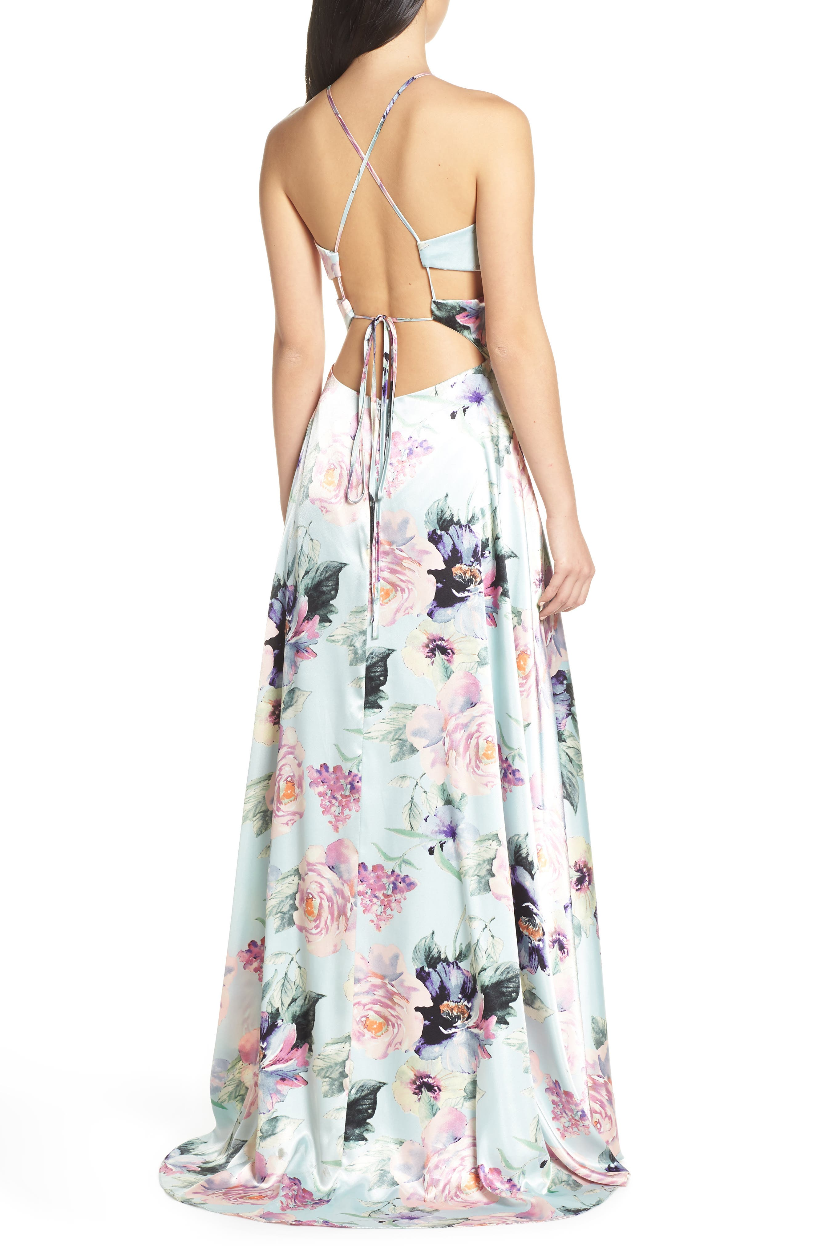 BLONDIE NITES,                             Floral Print Charmeuse Evening Dress,                             Alternate thumbnail 2, color,                             MINT/ MULTI