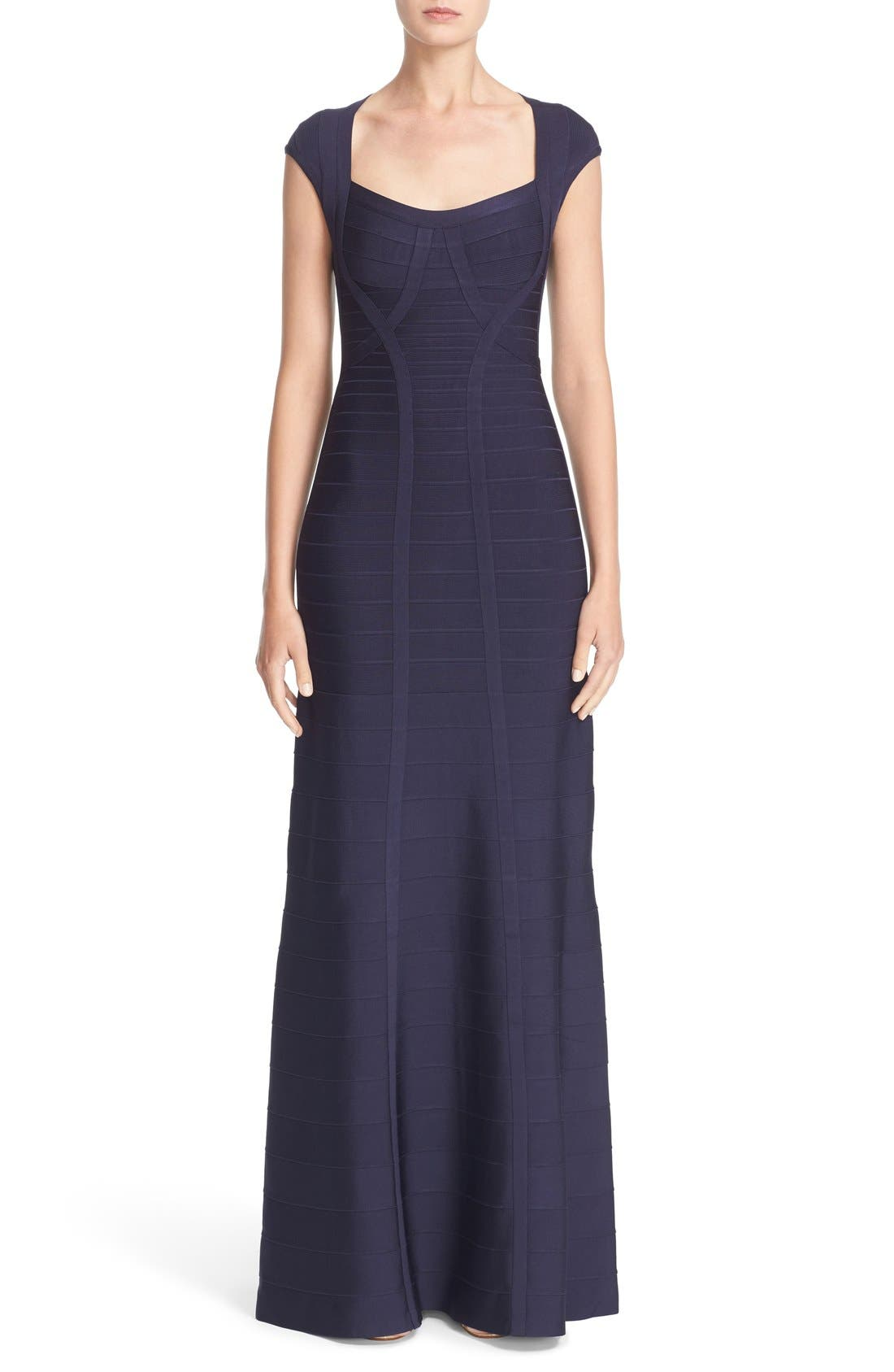 HERVE LEGER 'Catarina' Mermaid Bandage Gown, Main, color, 419