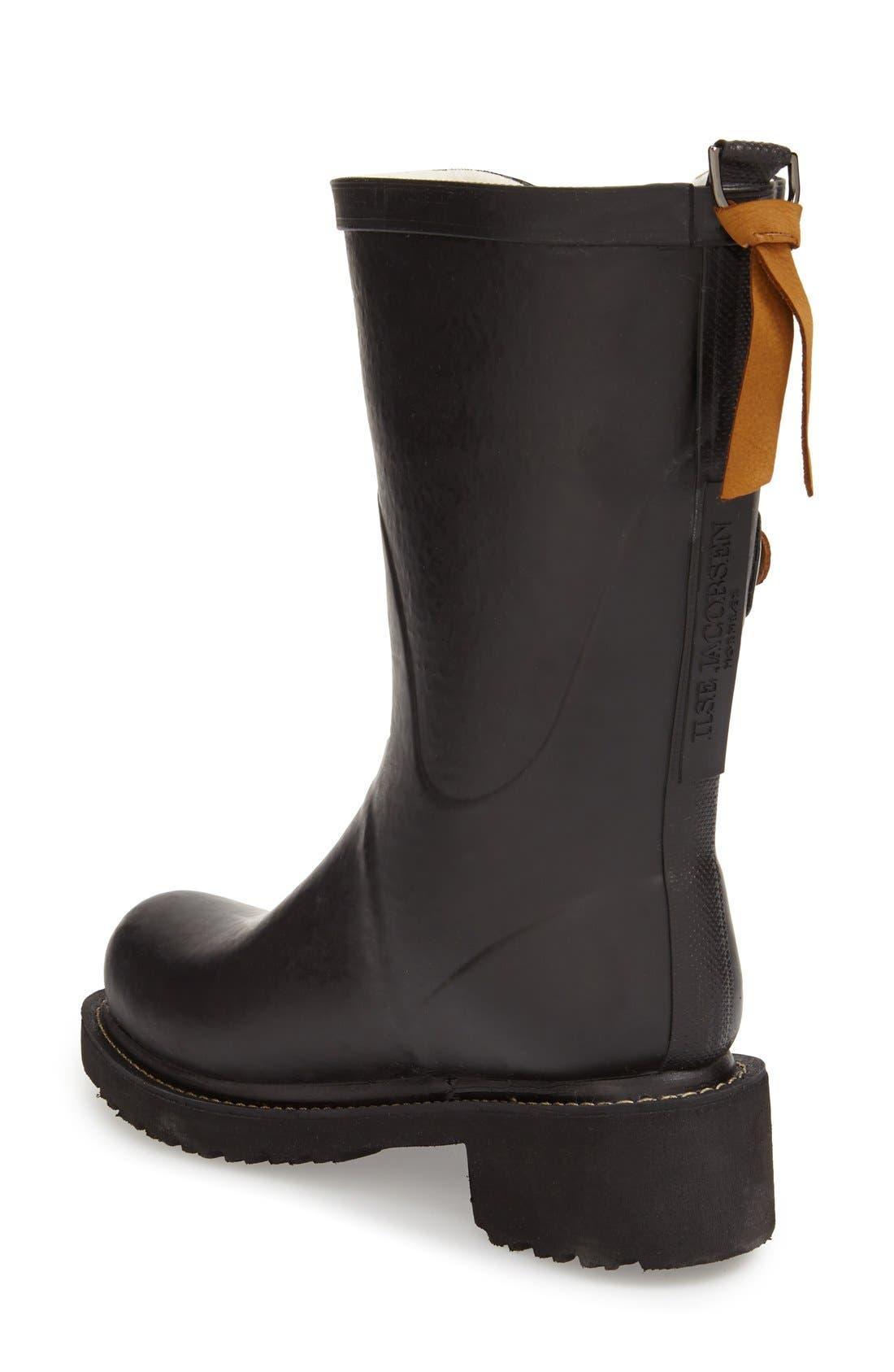 Waterproof Buckle Detail Snow/Rain Boot,                             Alternate thumbnail 2, color,                             BLACK