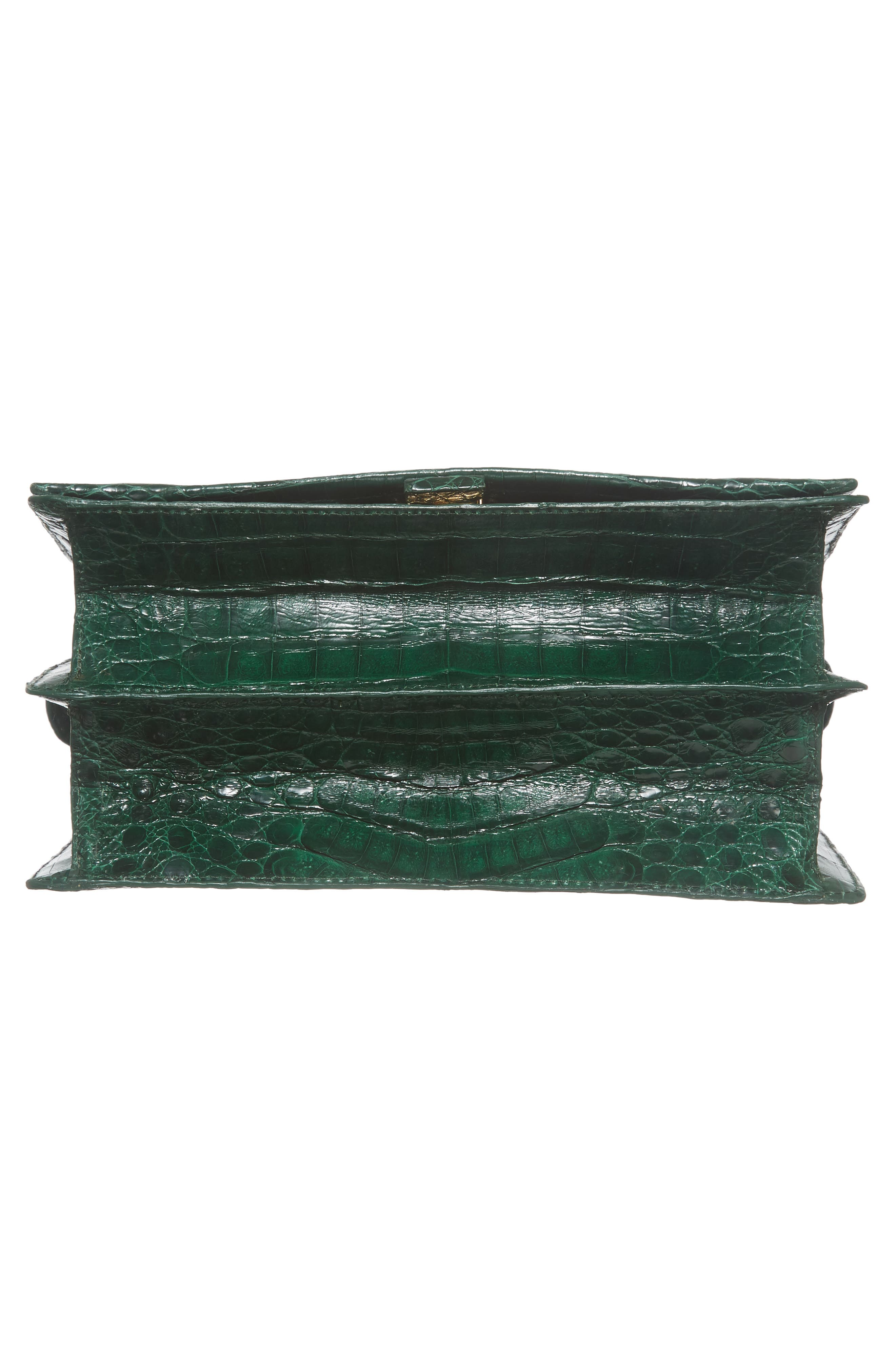 Divino Genuine Crocodile Top Handle Bag,                             Alternate thumbnail 6, color,                             KELLY GREEN SHINY