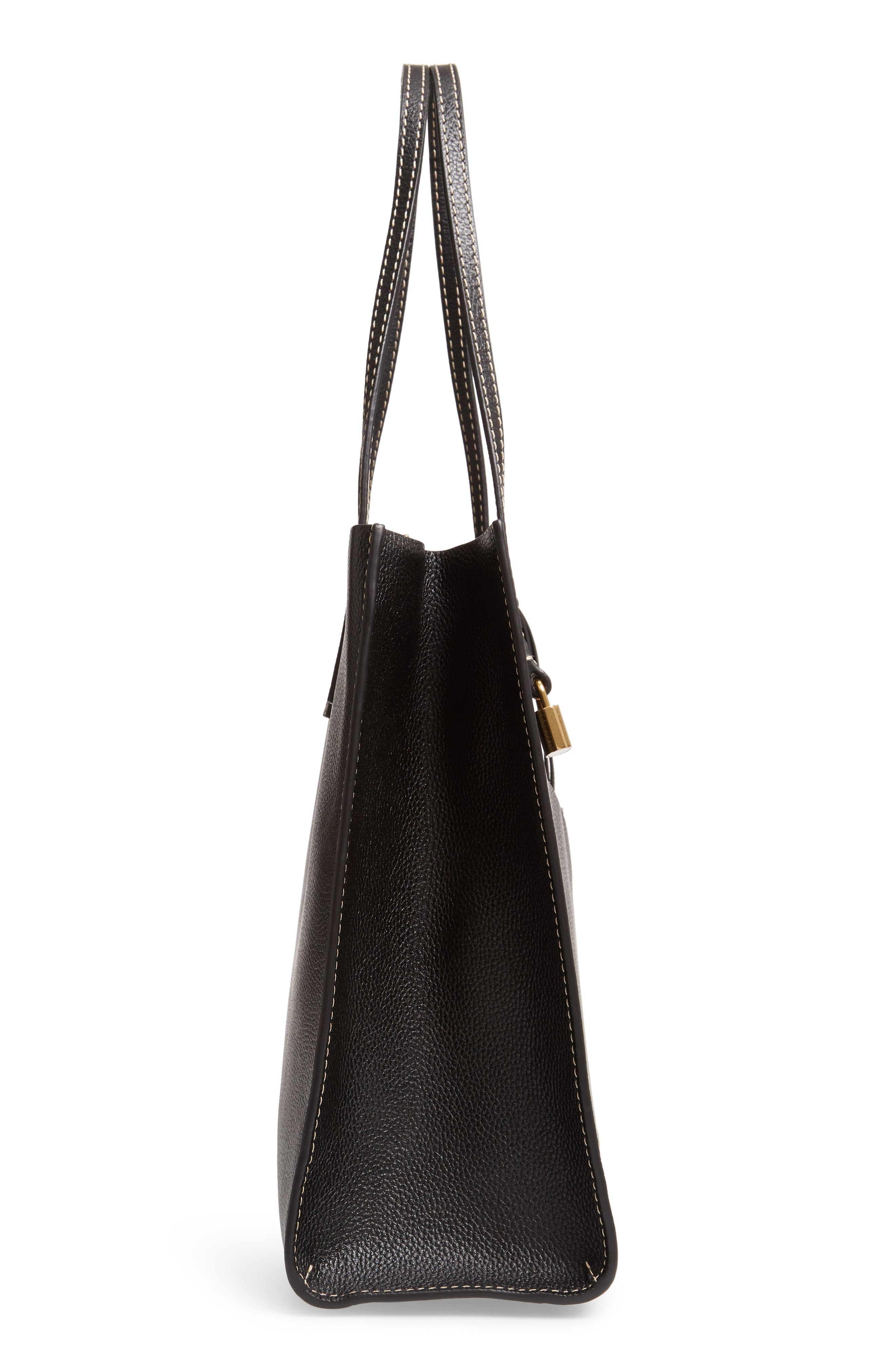 The Grind Leather Tote,                             Alternate thumbnail 5, color,                             BLACK/ DARK CHERRY