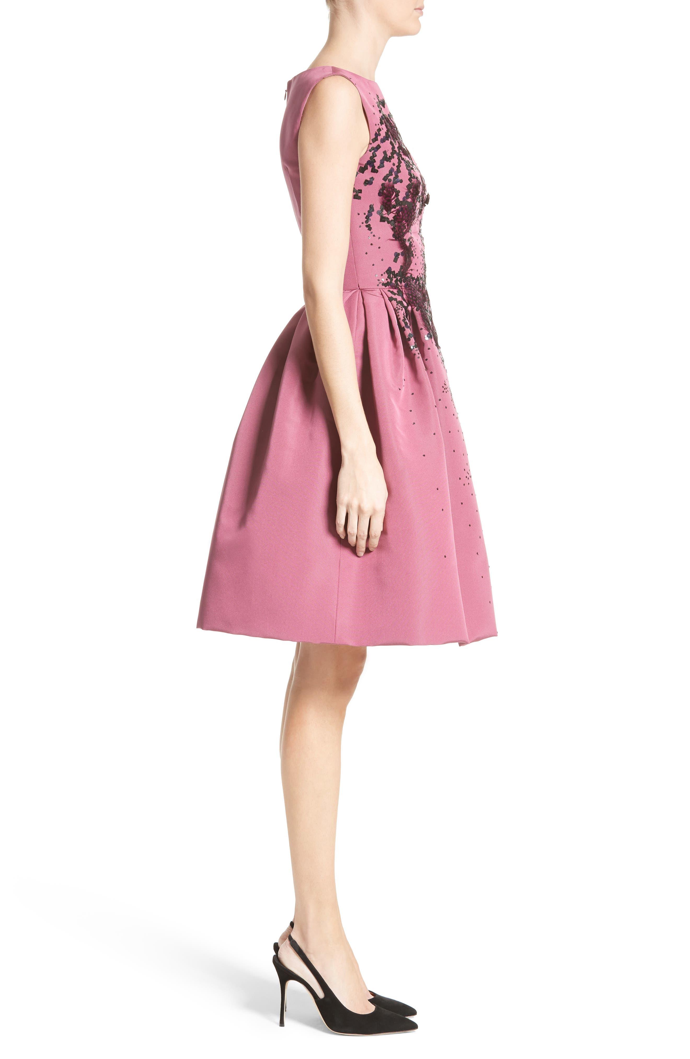 Embellished Silk Faille Dress,                             Alternate thumbnail 3, color,                             650