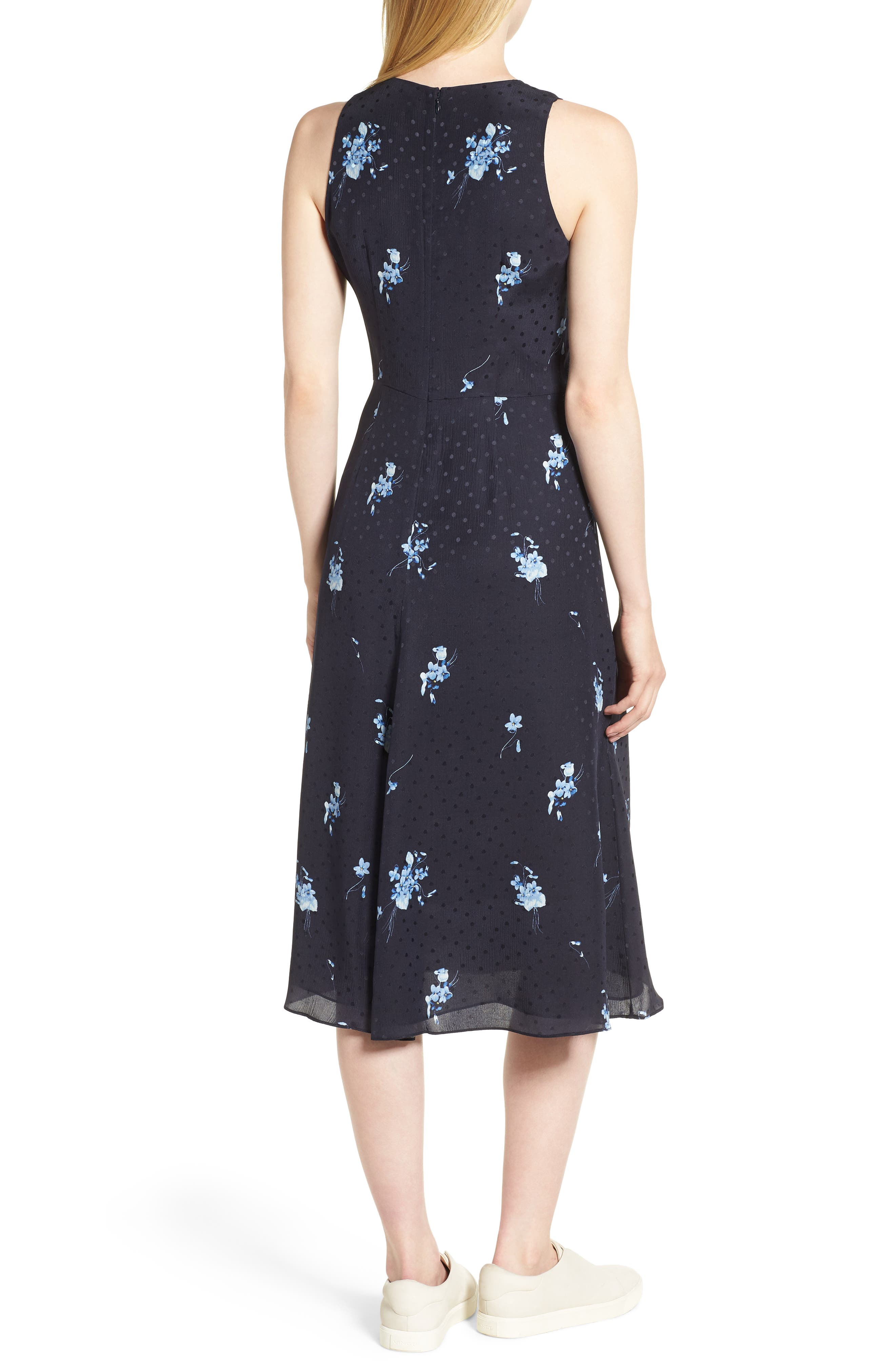 Floral Silk Midi Dress,                             Alternate thumbnail 2, color,                             410