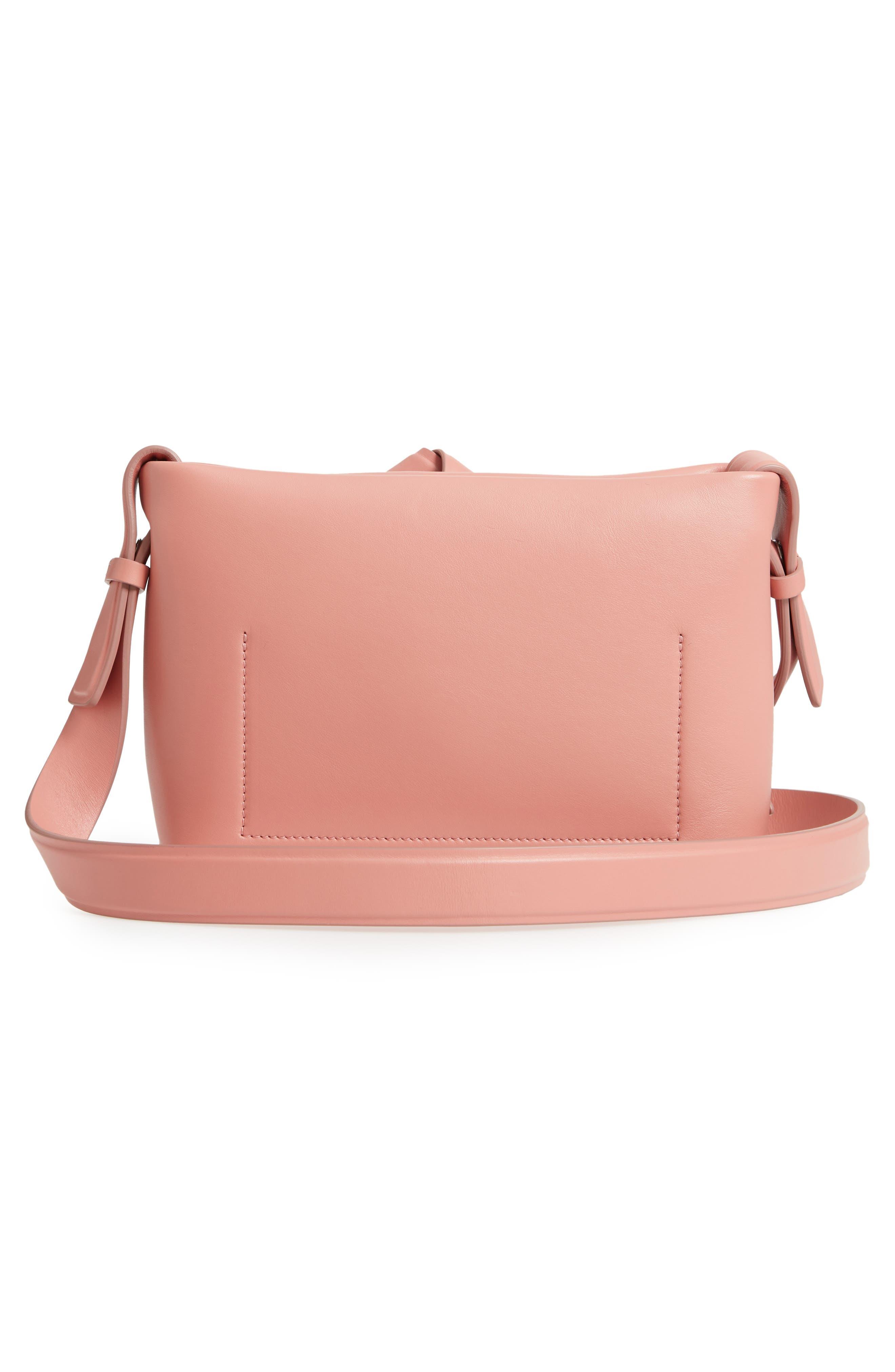 Musubi Knot Leather Handbag,                             Alternate thumbnail 3, color,                             PINK
